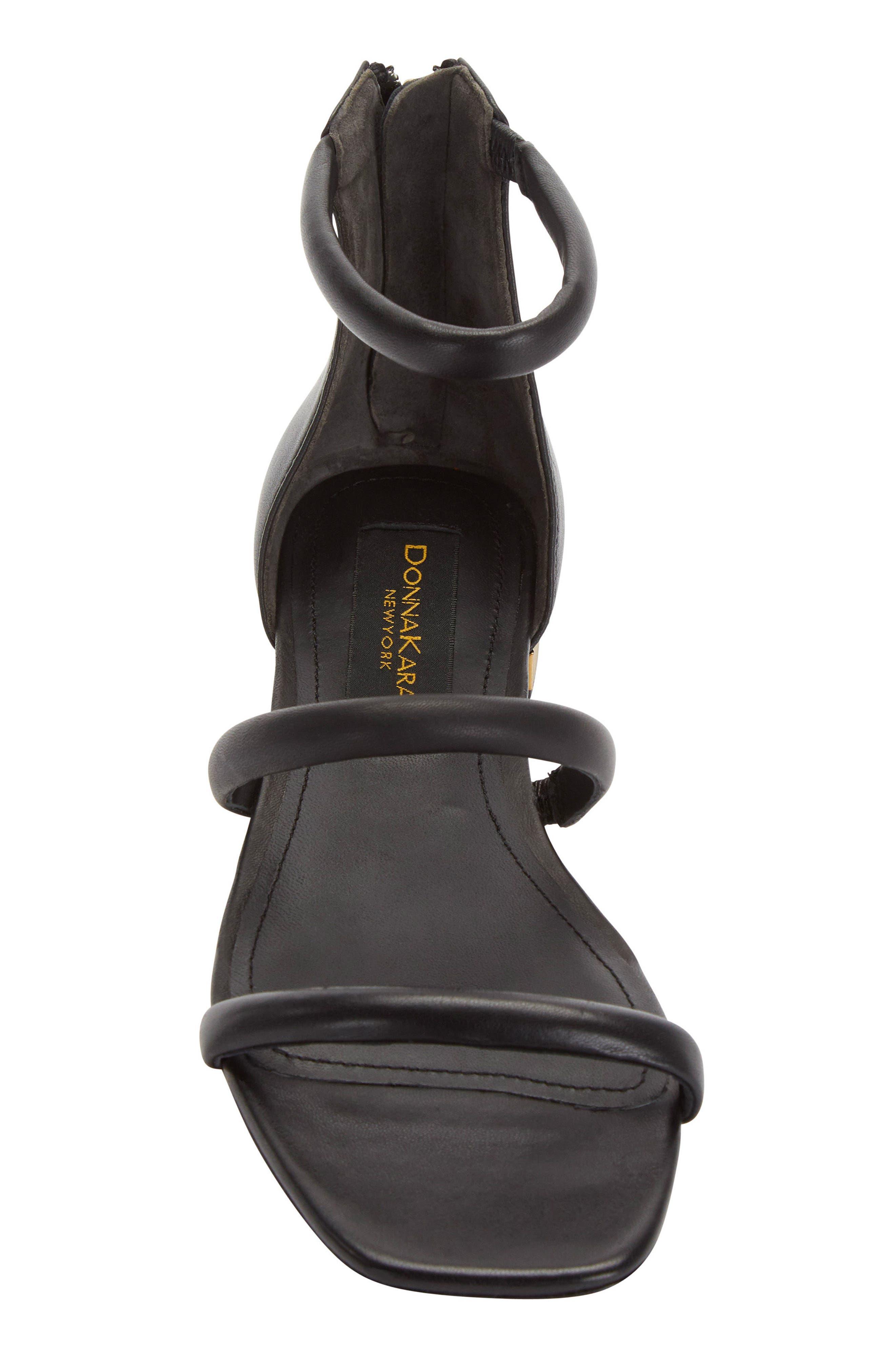 Donna Karan Galina Sandal,                             Alternate thumbnail 4, color,                             Black Leather