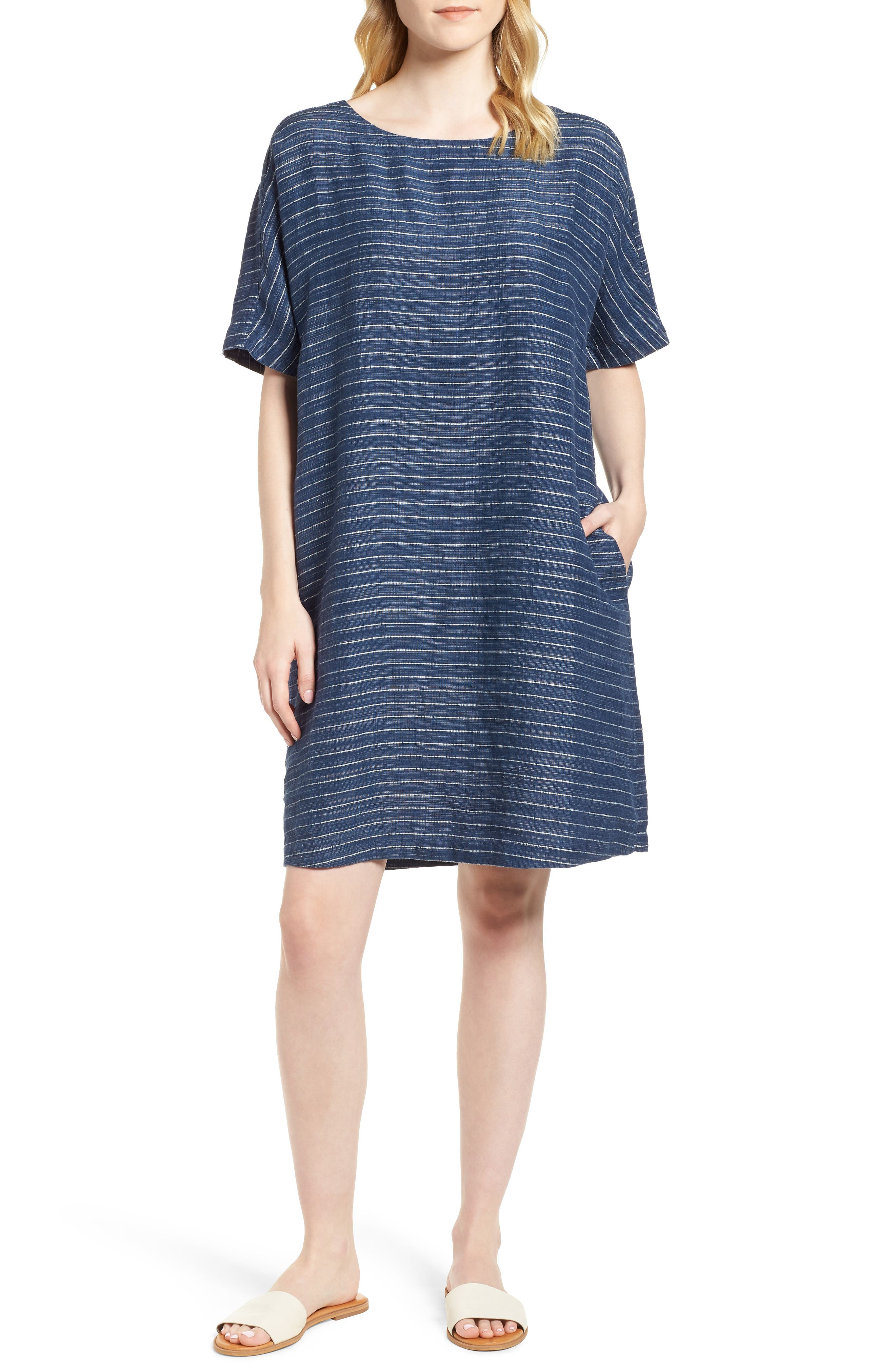 Stripe Linen Tunic Dress,                         Main,                         color, Denim