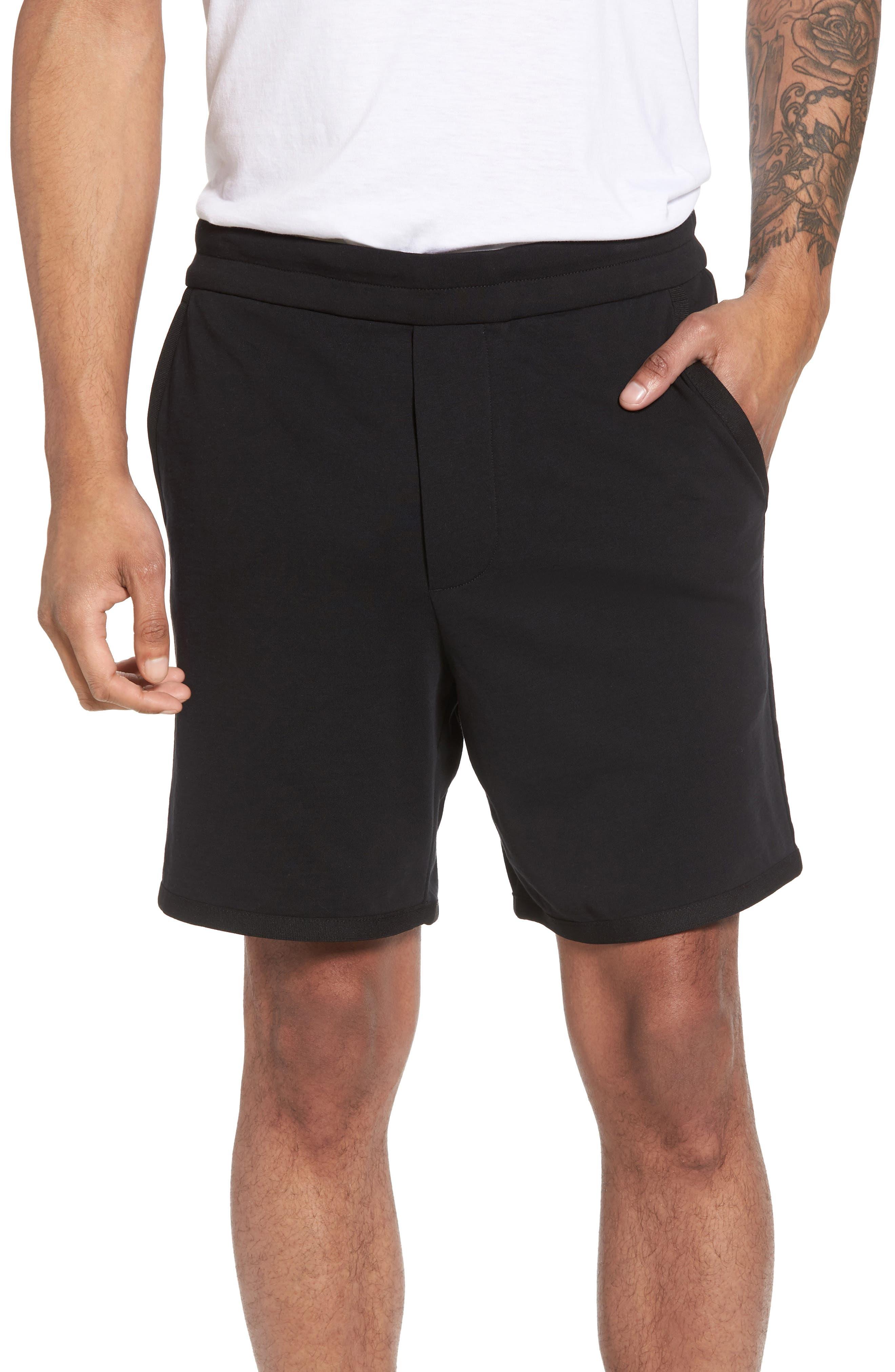 Taped Slim Fit Track Shorts,                             Main thumbnail 1, color,                             Black/ Black