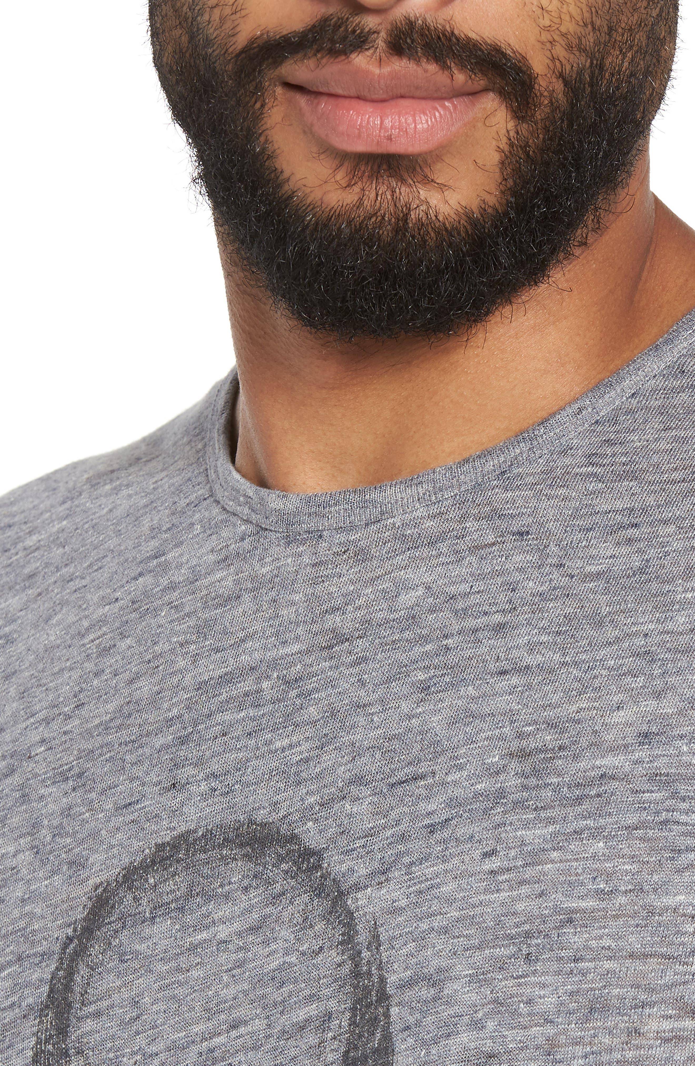 John Varvatos Crewneck Linen T-Shirt,                             Alternate thumbnail 4, color,                             Med Grey