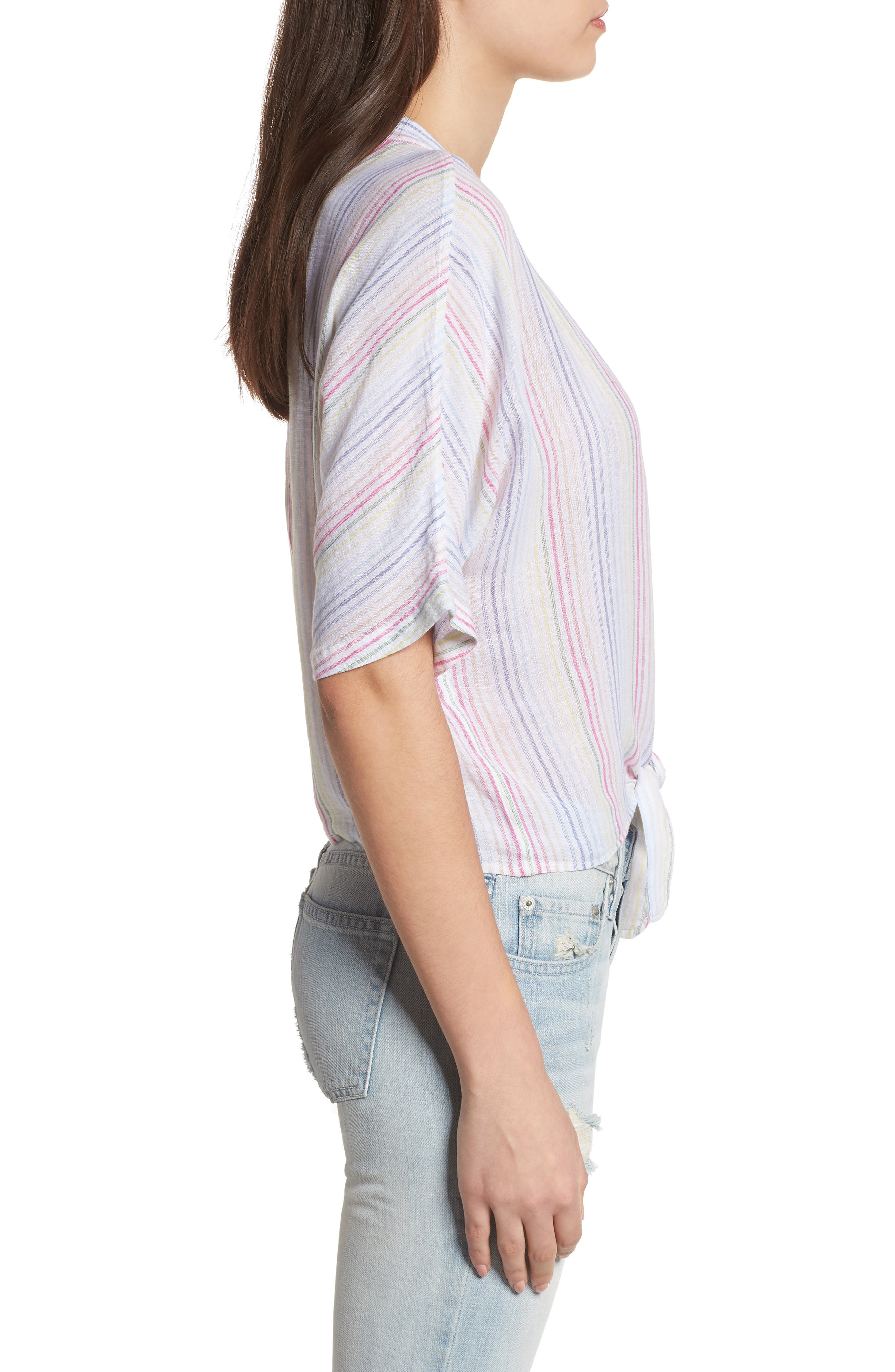 Thea Stripe Tie Waist Linen Blend Top,                             Alternate thumbnail 3, color,                             Isla Stripe