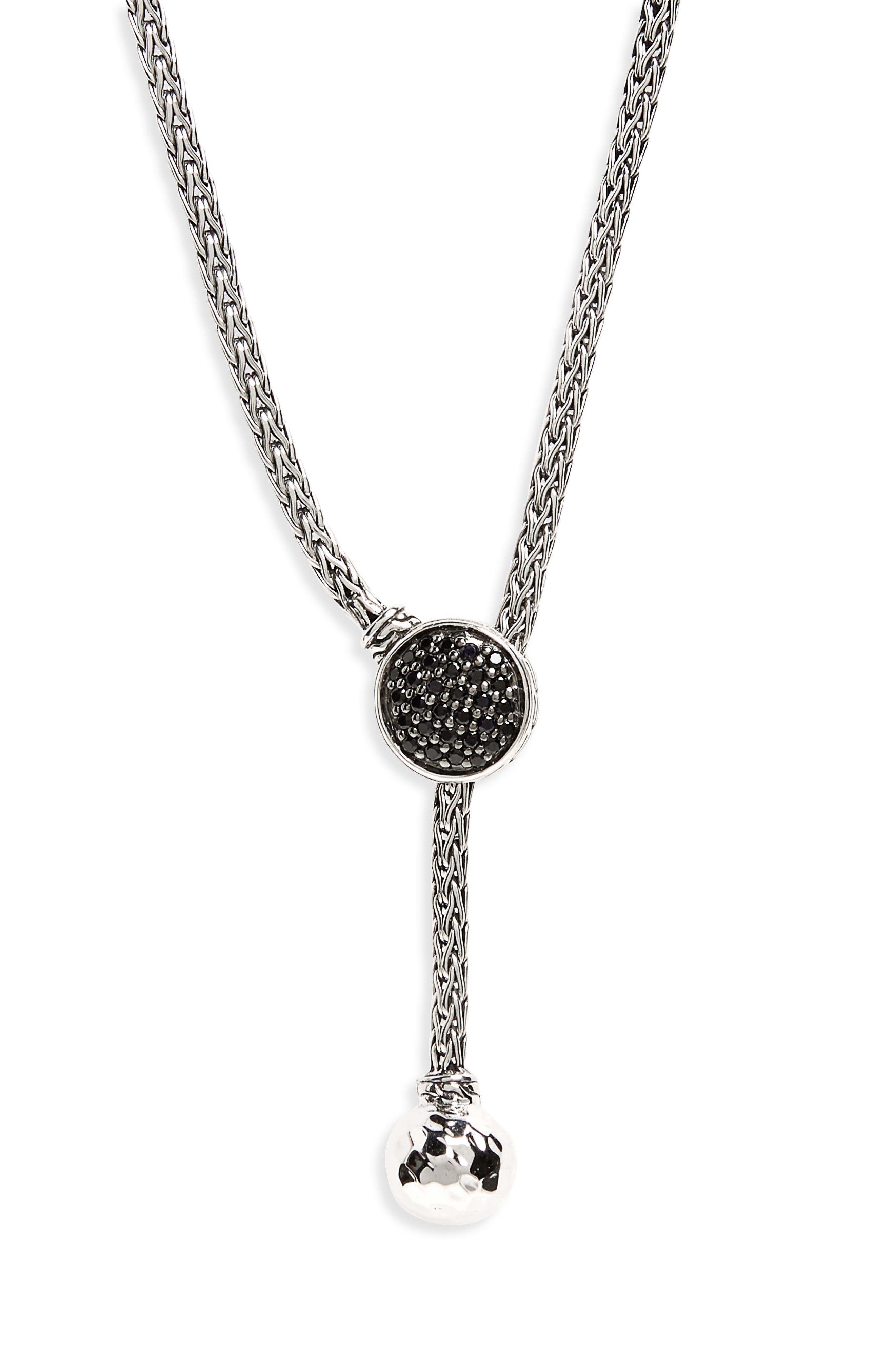 Classic Chain Black Sapphire Pavé Lariat Necklace,                             Alternate thumbnail 2, color,                             Silver/ Black Sapphire/ Black