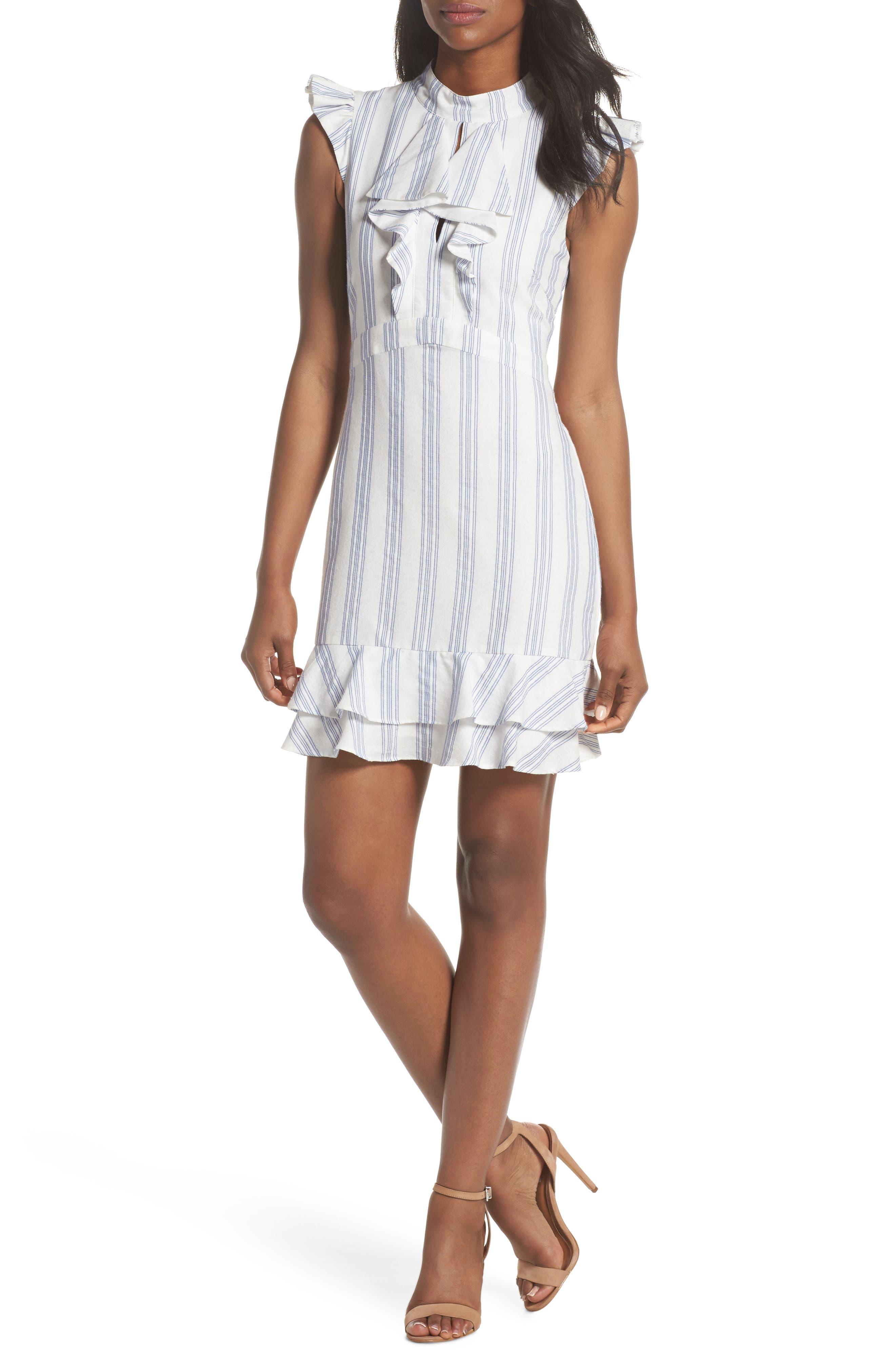 Stripe Ruffle Sheath Dress,                             Main thumbnail 1, color,                             White/ Blue
