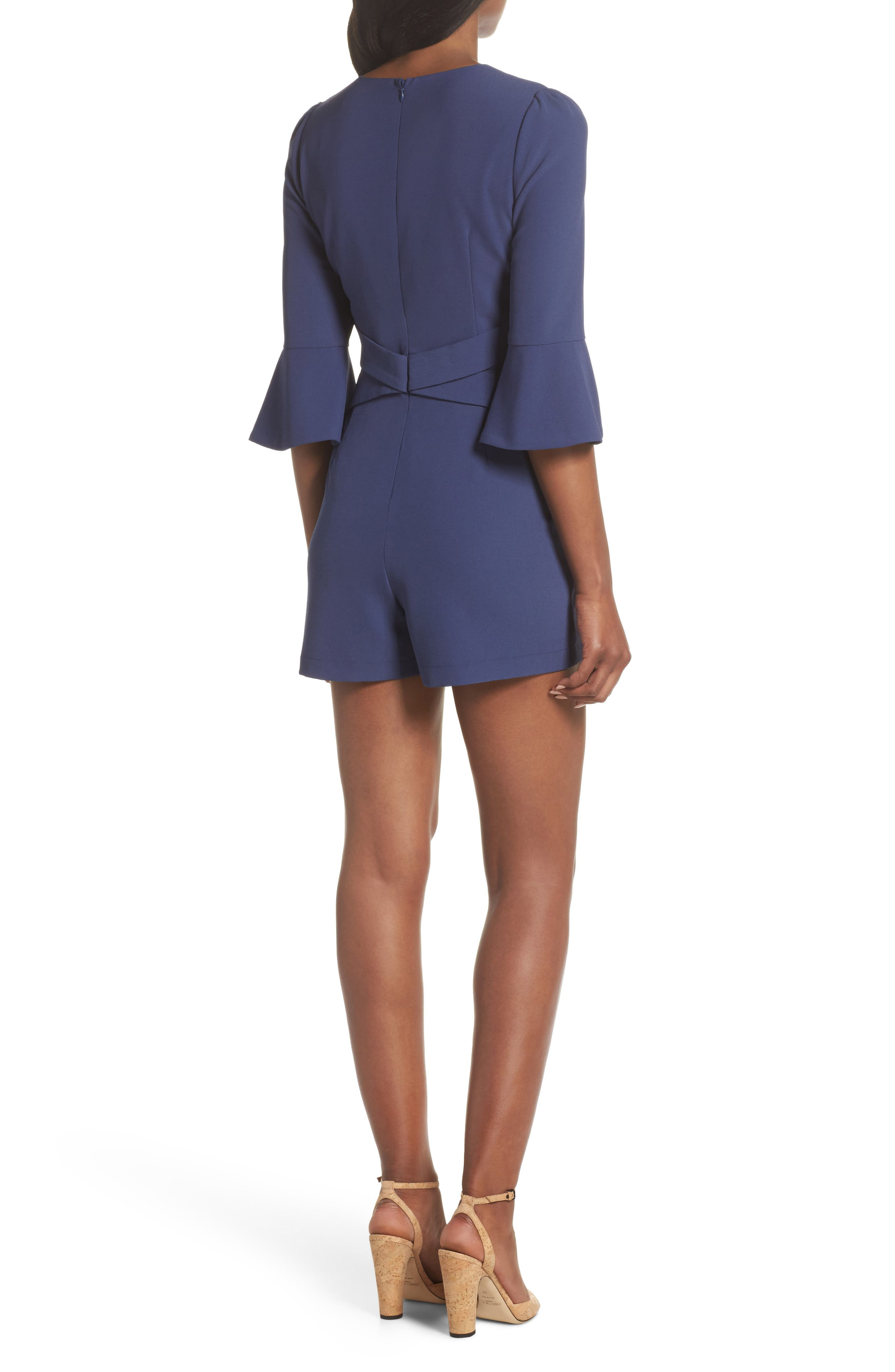 Meredith Bell Cuff Romper,                             Alternate thumbnail 2, color,                             Denim Blue