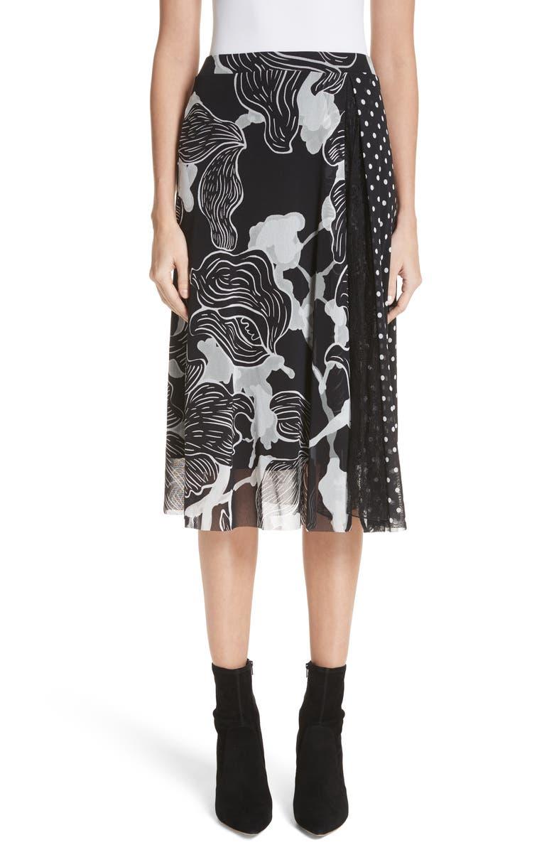 Floral & Polka Dot Print Tulle Skirt