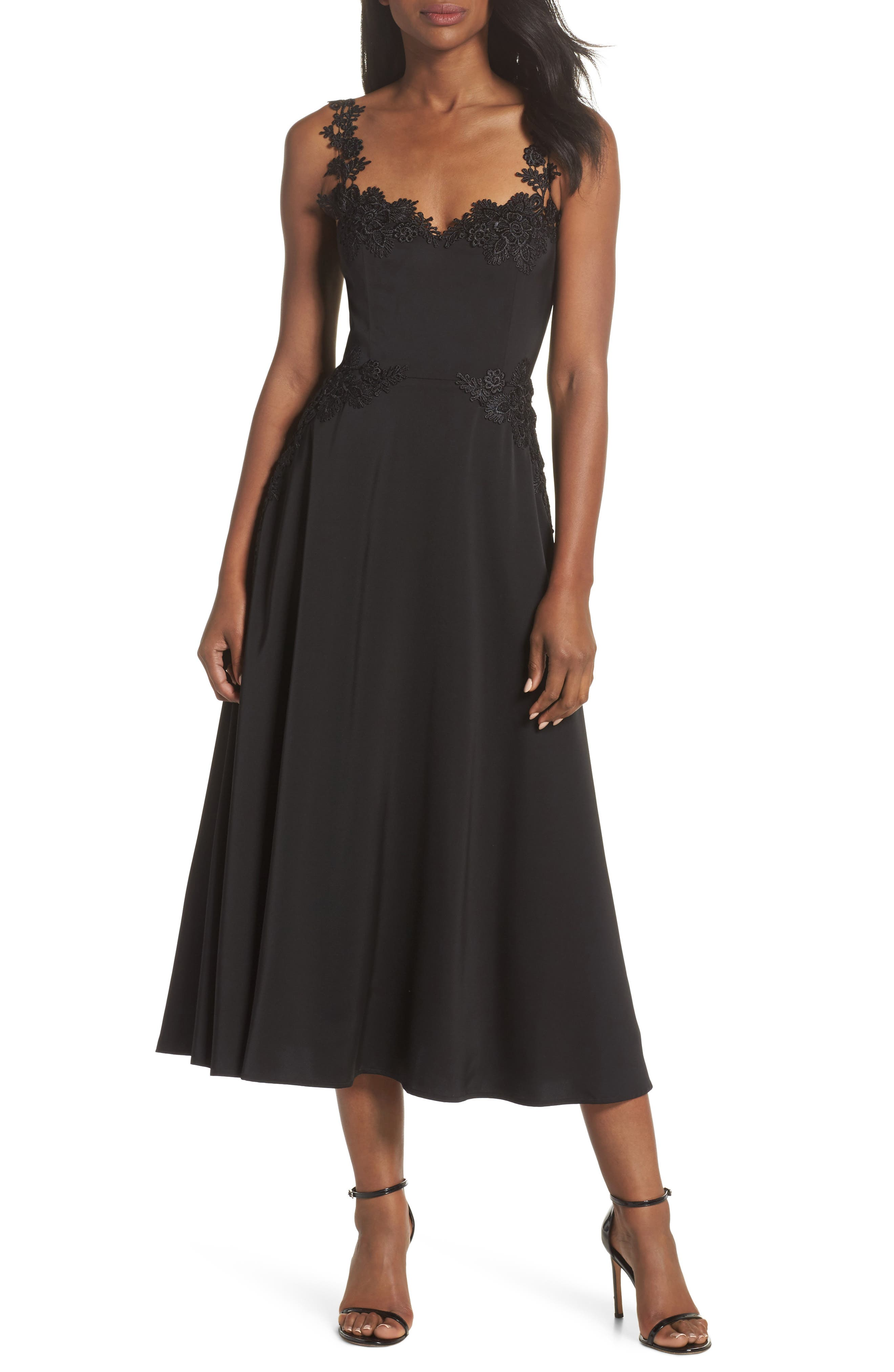 Aislinn Floral Appliqué Tea Length Dress,                             Main thumbnail 1, color,                             Black Multi