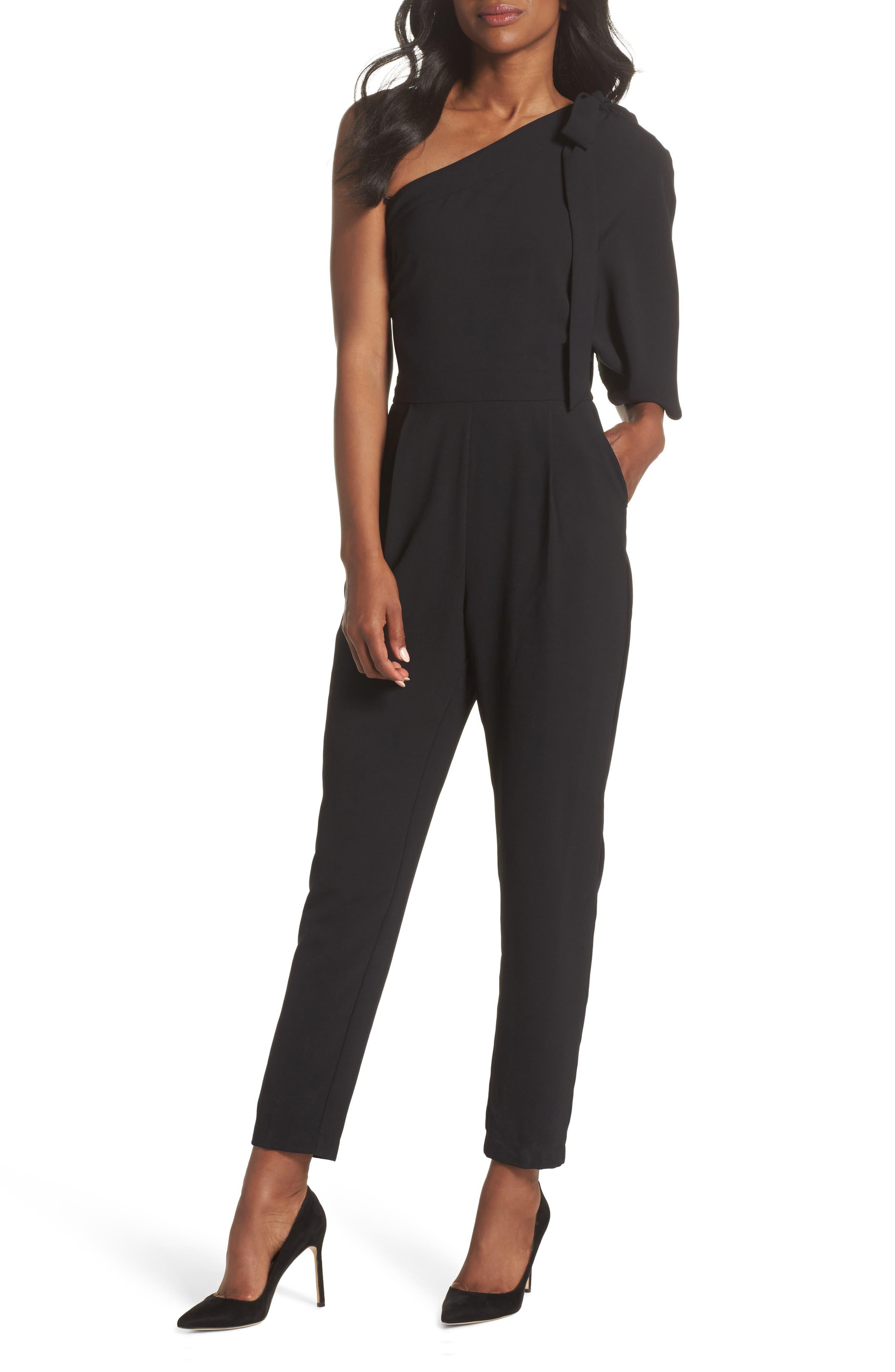 Willow One-Shoulder Jumpsuit,                             Main thumbnail 1, color,                             Black