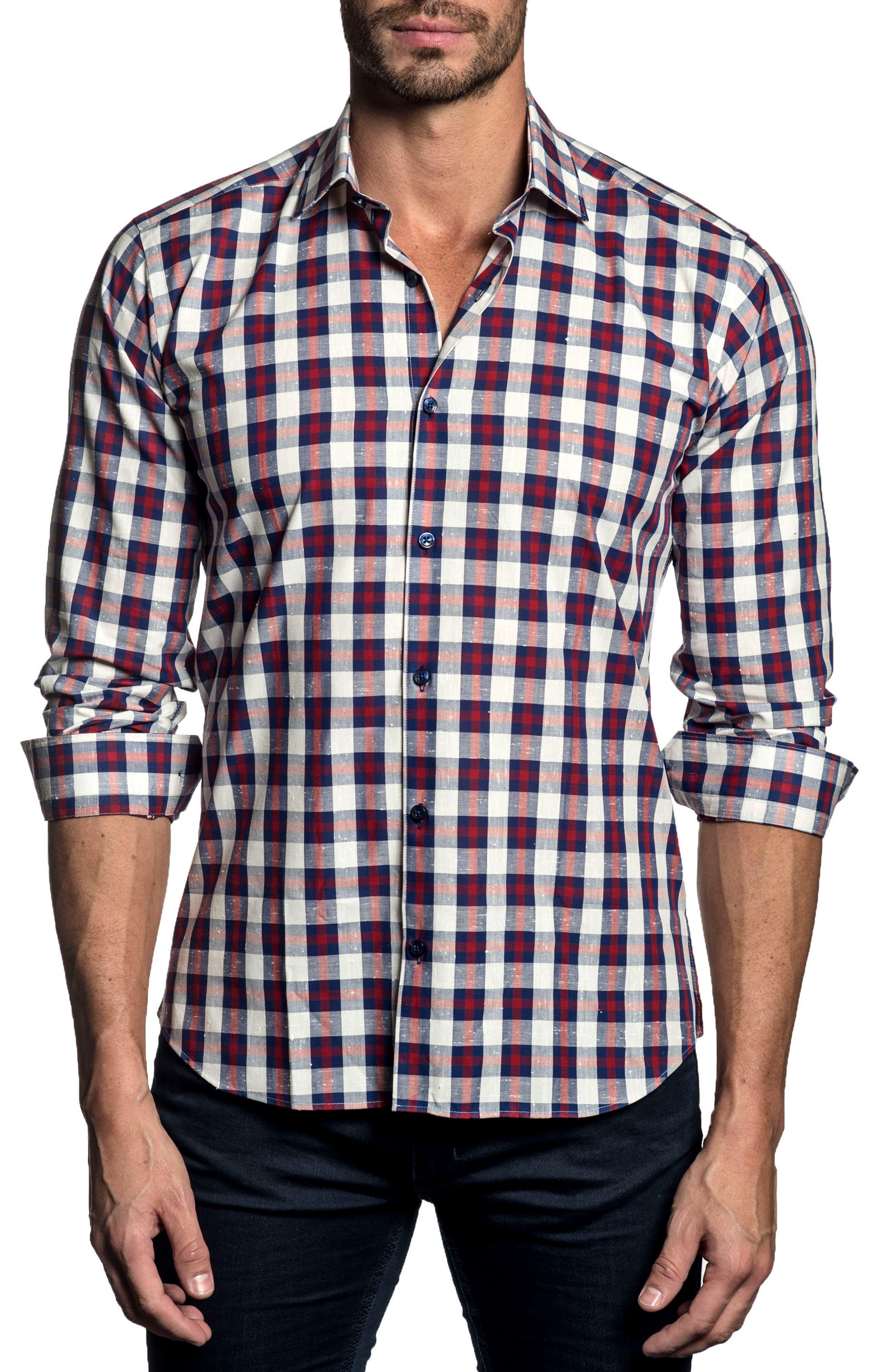 Trim Fit Plaid Sport Shirt,                         Main,                         color, White - Blue - Red Check