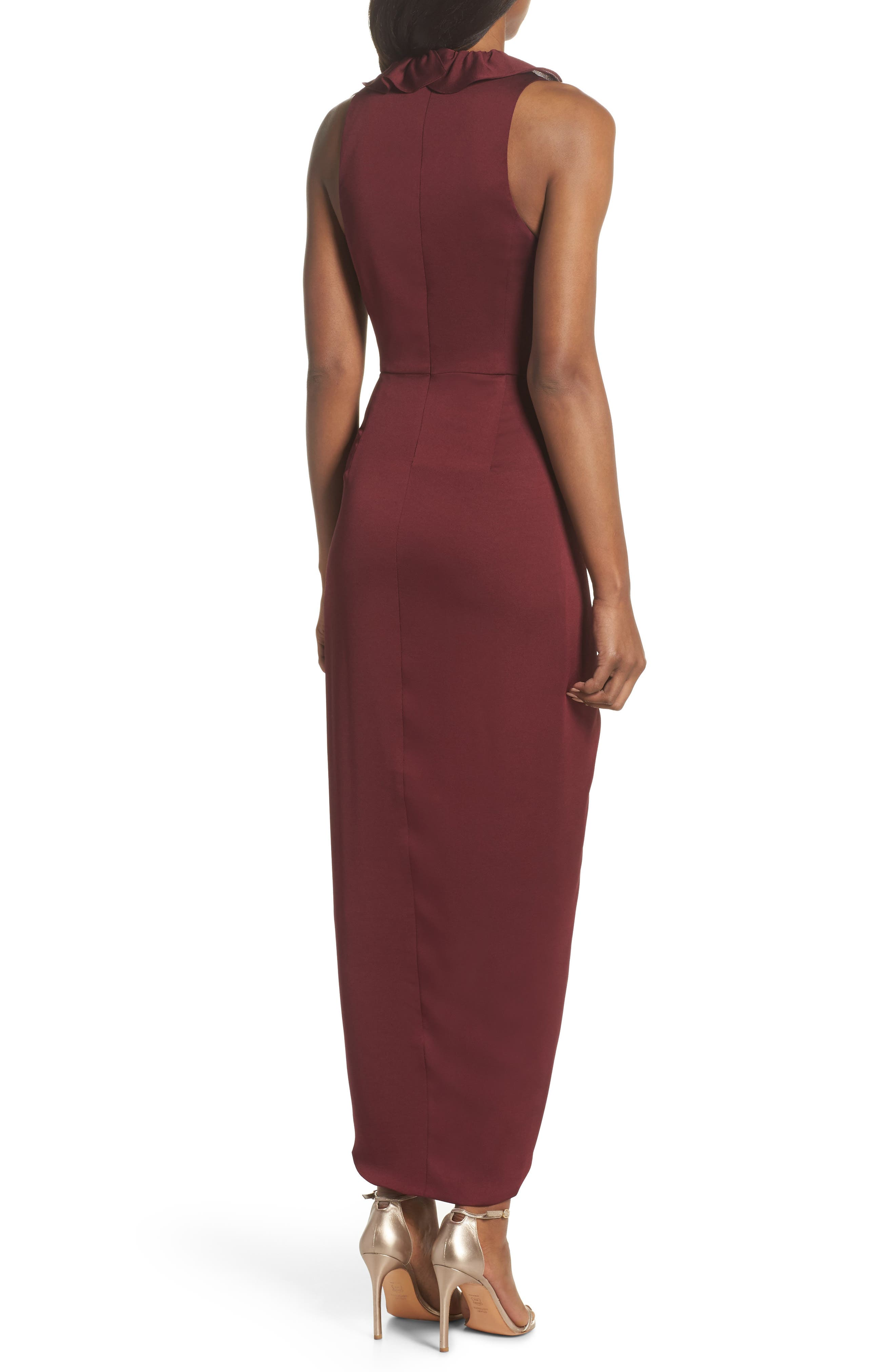 Luxe Plunging Frill Maxi Dress,                             Alternate thumbnail 2, color,                             Garnet
