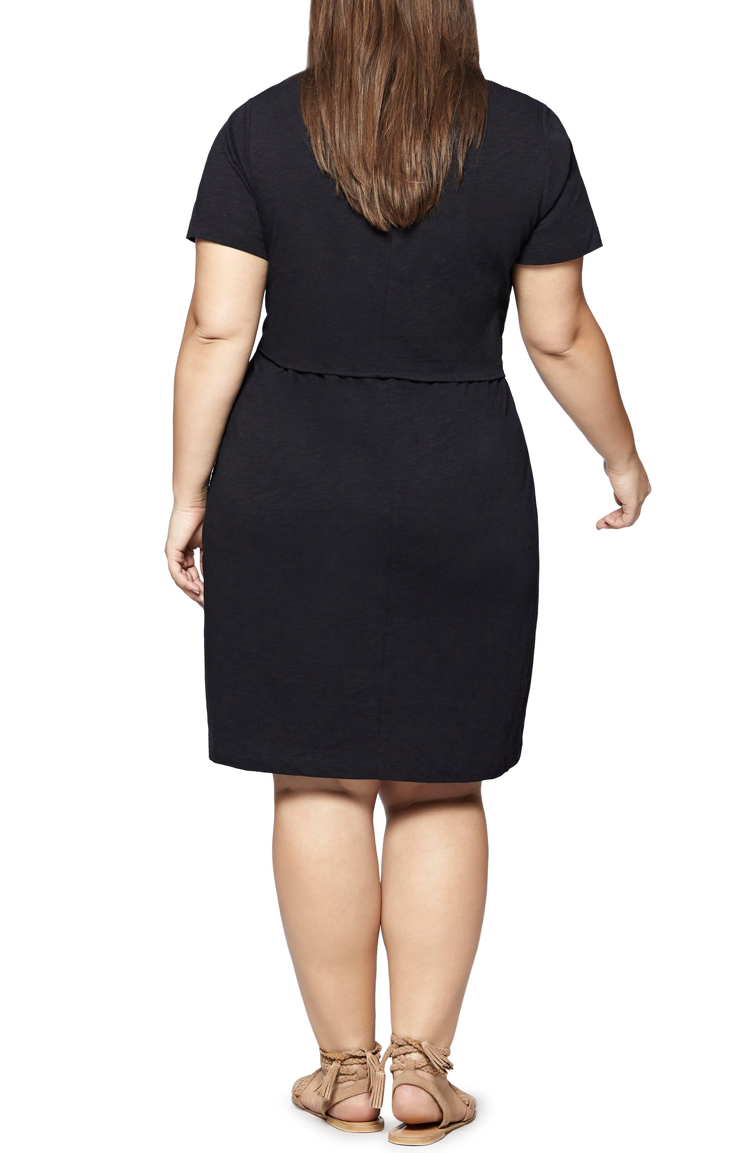 Juno Tie Waist T-Shirt Dress,                             Alternate thumbnail 2, color,                             Black