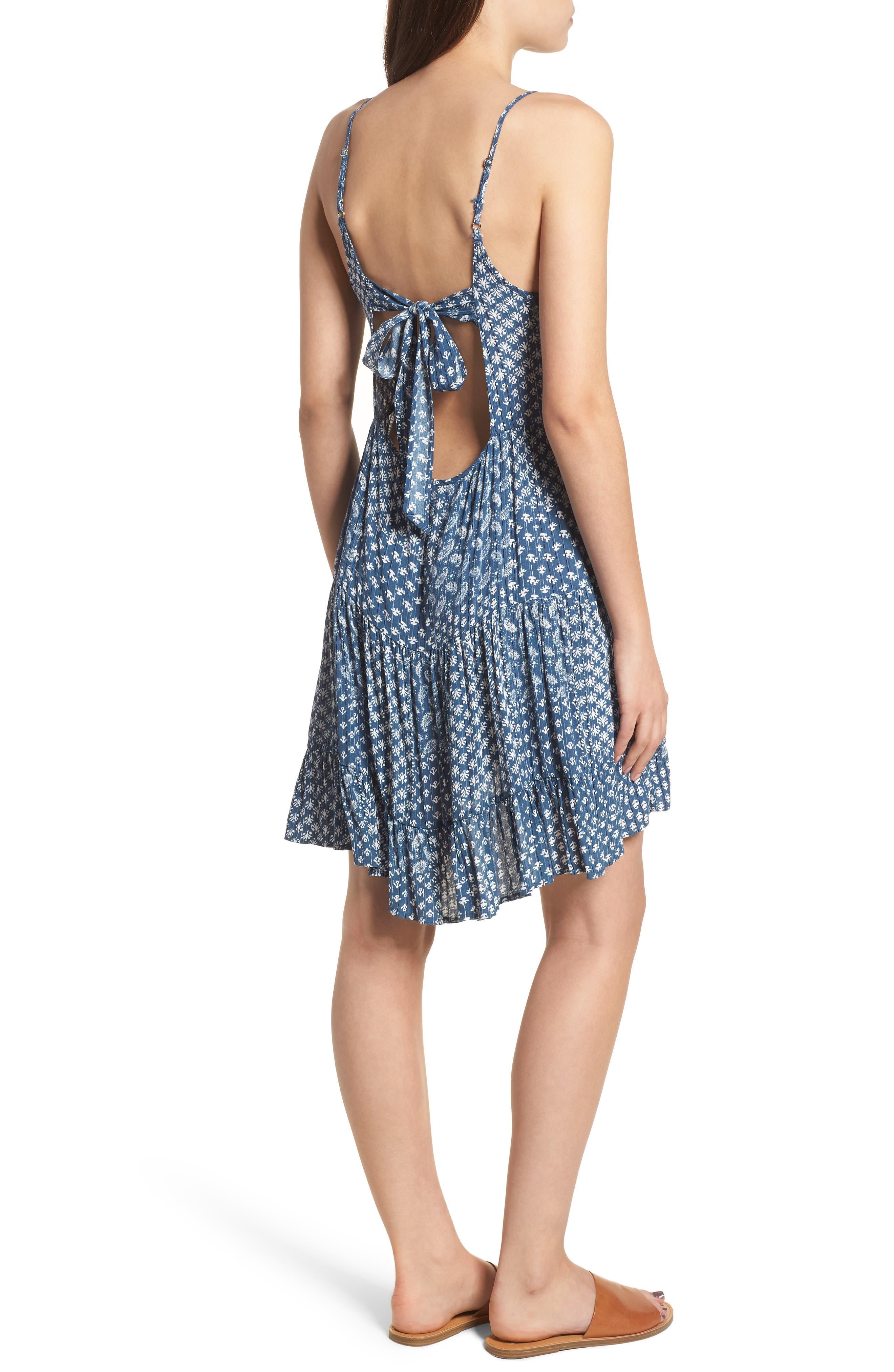 Amber Swing Dress,                             Alternate thumbnail 2, color,                             Indigo Patchwork