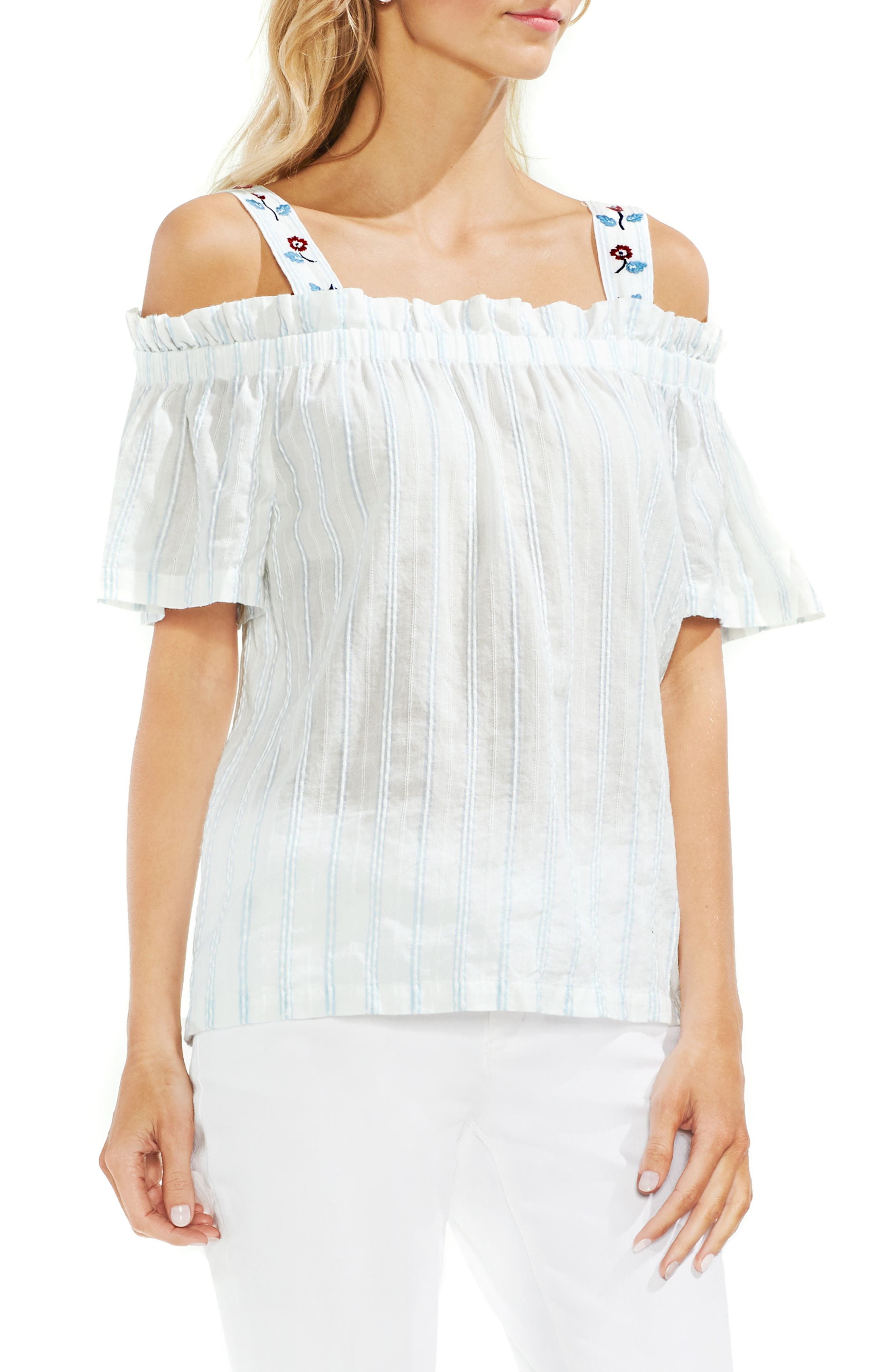 a25571c4934858 Vince Camuto Embroidered Bubble Stripe Cold Shoulder Top In Still Water