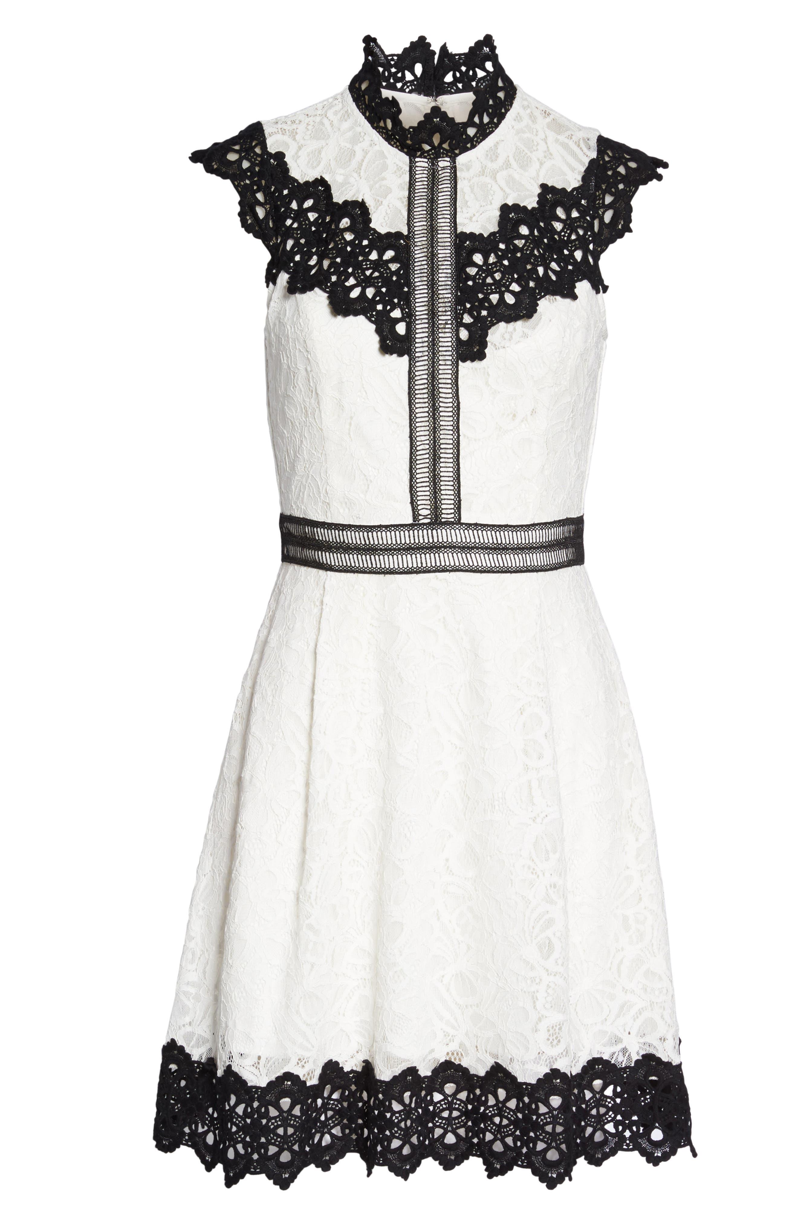 Hilda Fit & Flare Dress,                             Alternate thumbnail 6, color,                             White/ Black