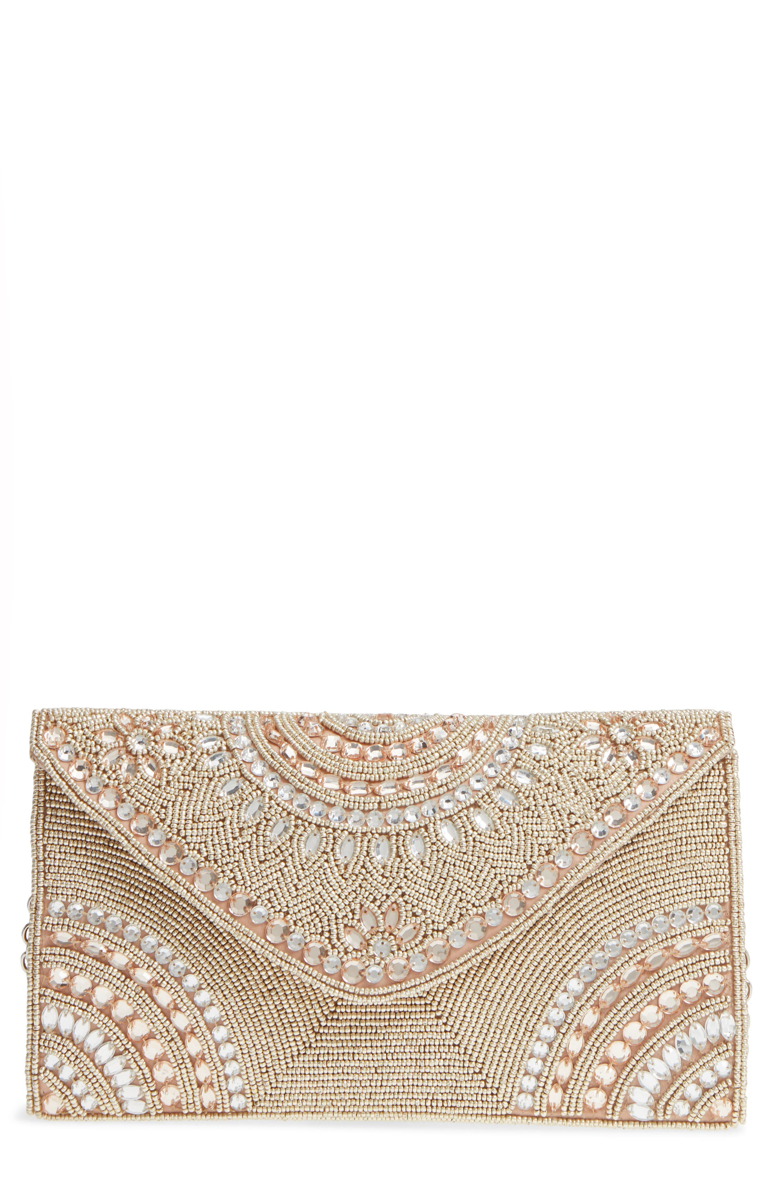 Alhambra Beaded Envelope Clutch,                             Main thumbnail 1, color,                             Blush