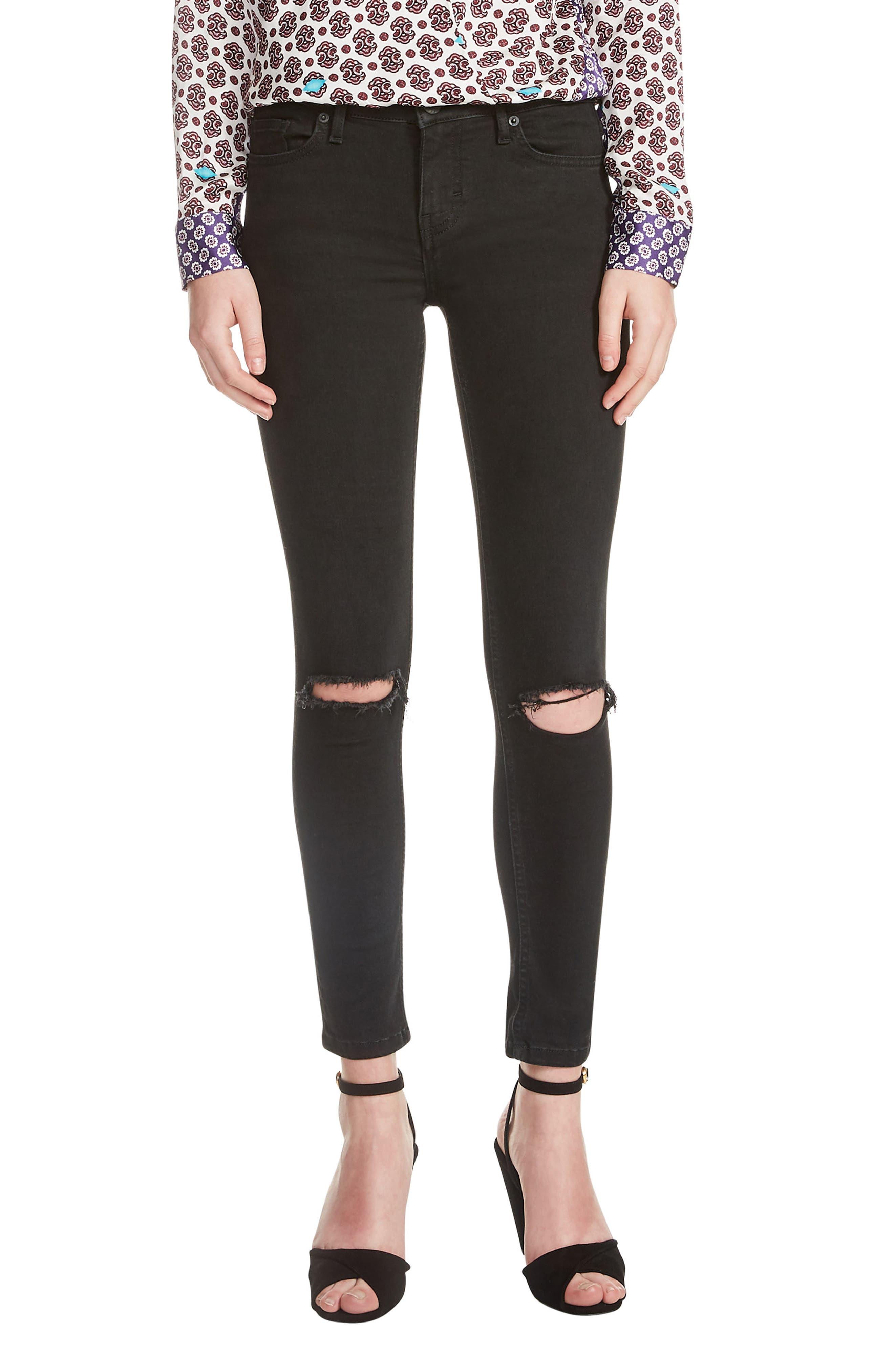 Priska Ripped Bee Embroidery Black Skinny Jeans,                         Main,                         color, Black