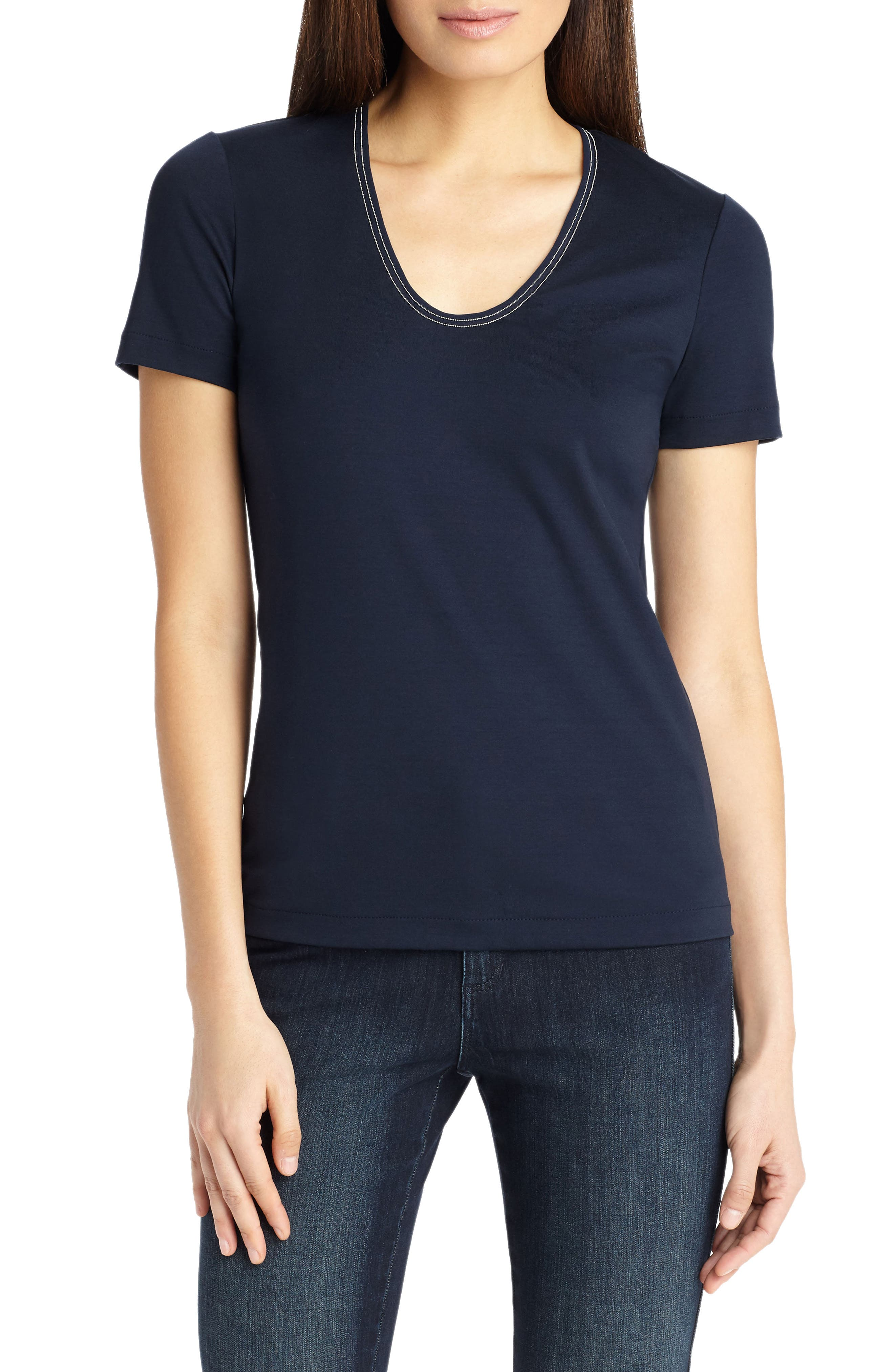 Grace Chain Trim Top,                         Main,                         color, Ink