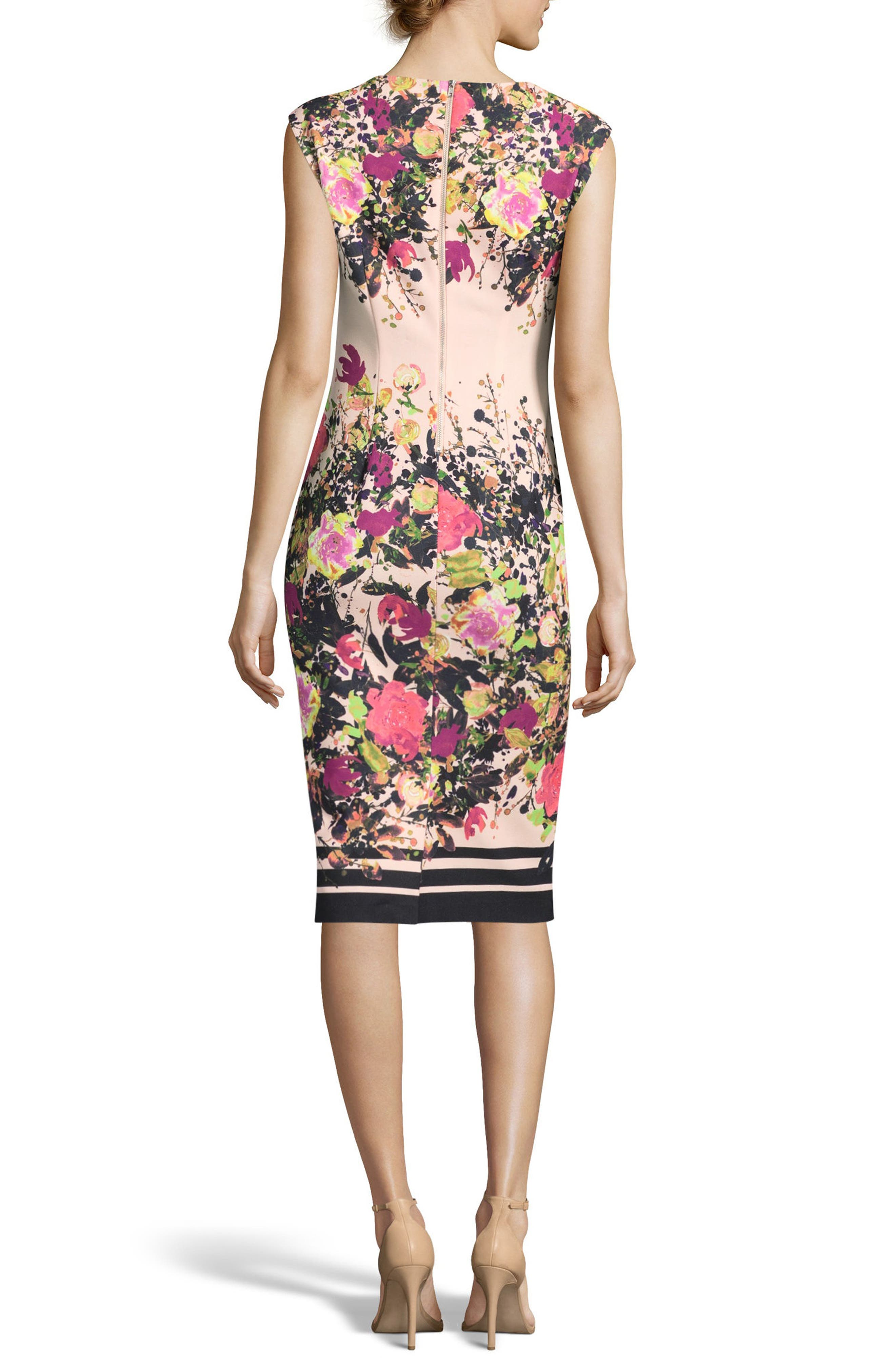 Floral Print Sheath Dress,                             Alternate thumbnail 2, color,                             Ivory/ Pink