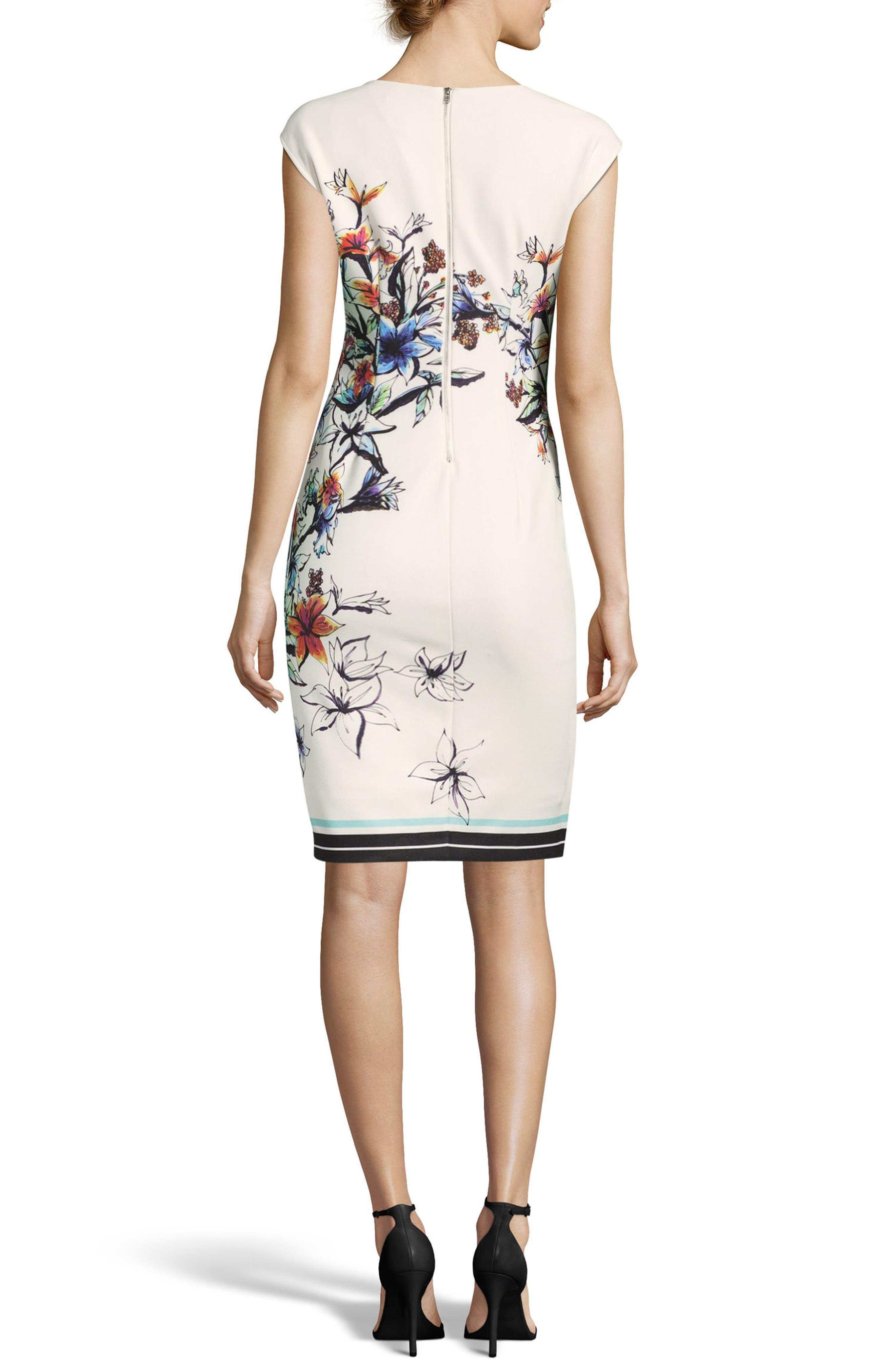 Floral Asymmetric Sheath Dress,                             Alternate thumbnail 2, color,                             Ivory/ Multi