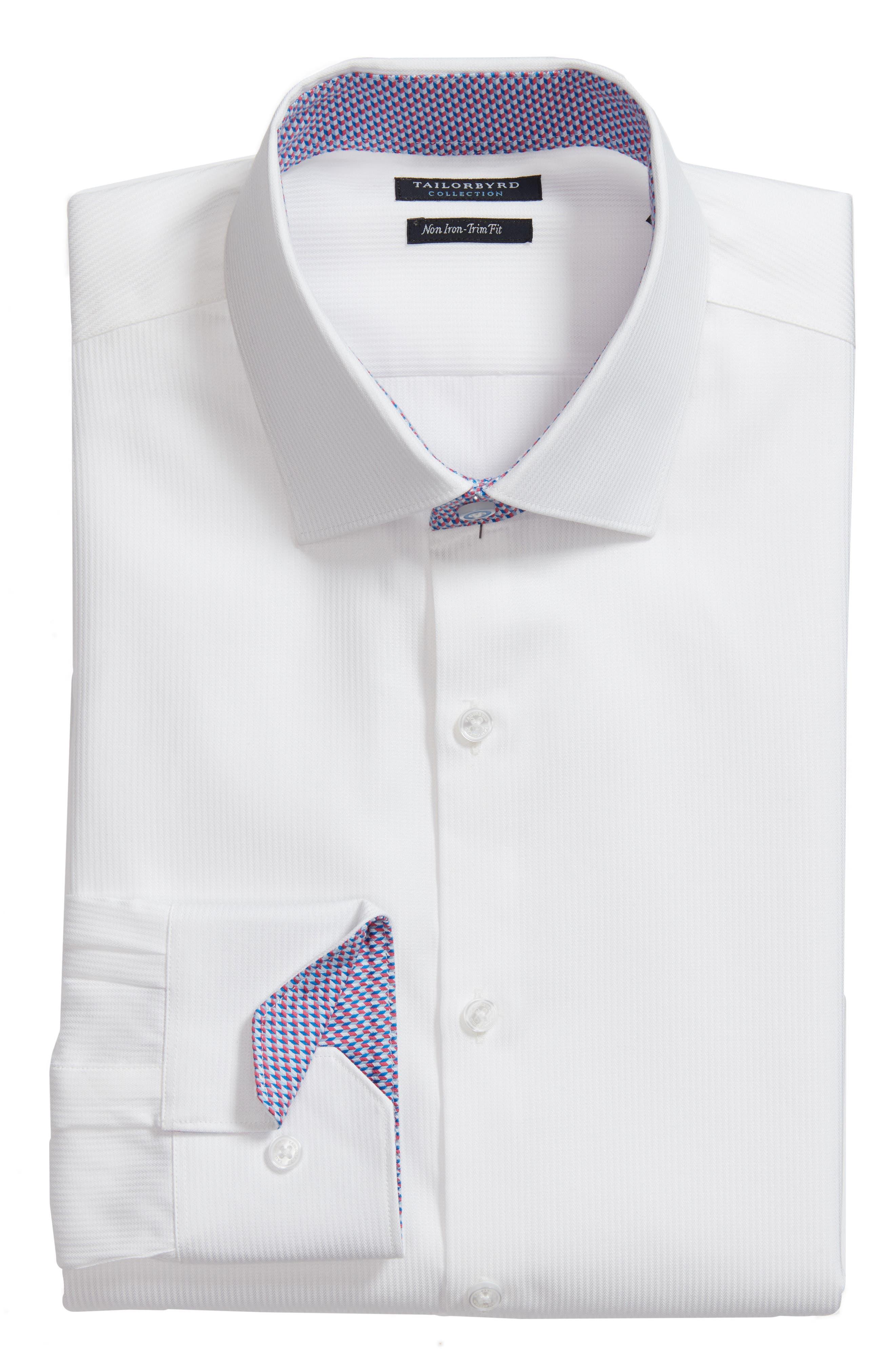 Becker Trim Fit Stripe Dress Shirt,                             Alternate thumbnail 6, color,                             White