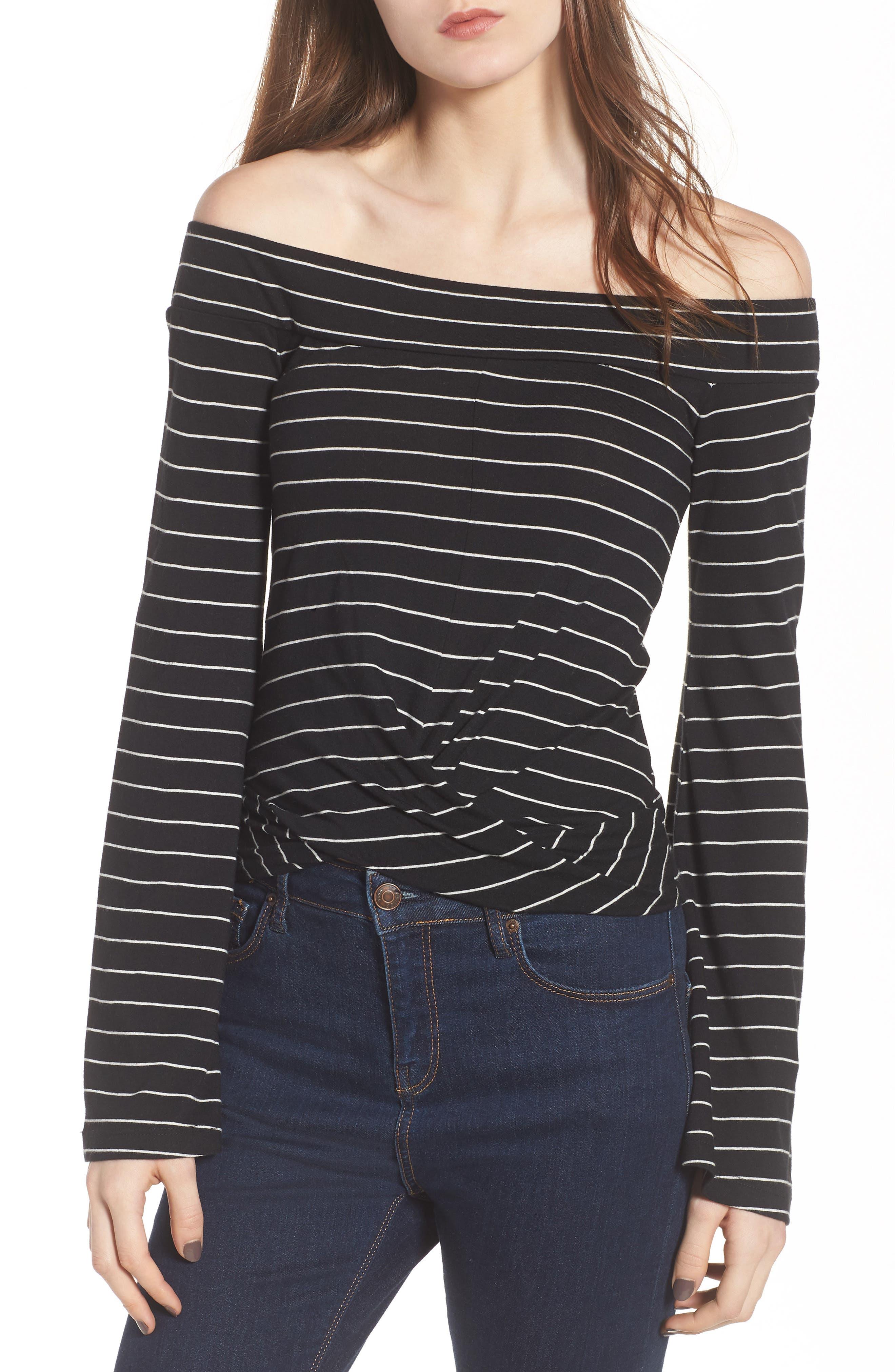Stripe Twist Front Off the Shoulder Top,                         Main,                         color, Black Jess Strp