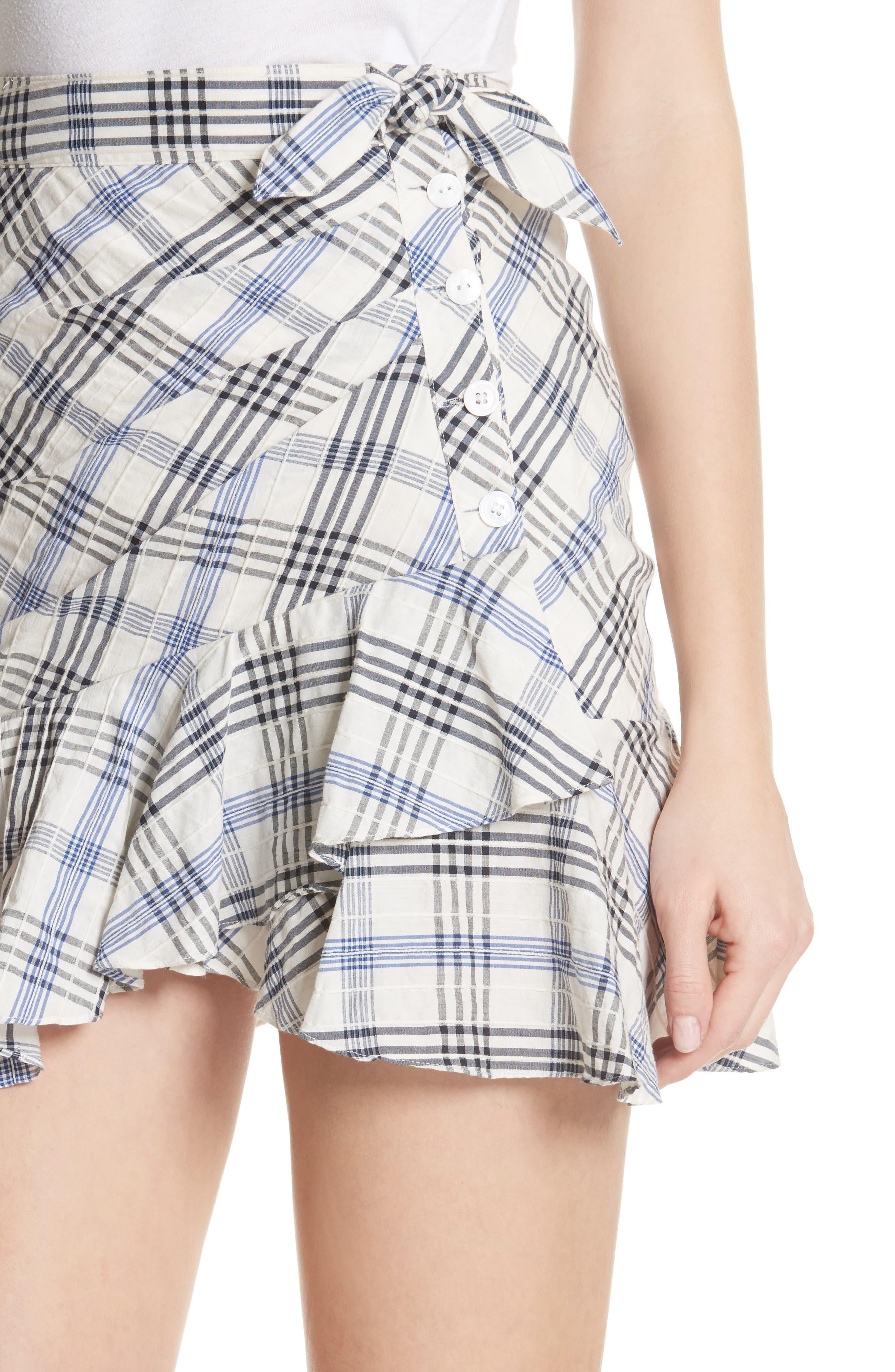 Kaia Check Ruffle Skirt,                             Alternate thumbnail 4, color,                             Blue