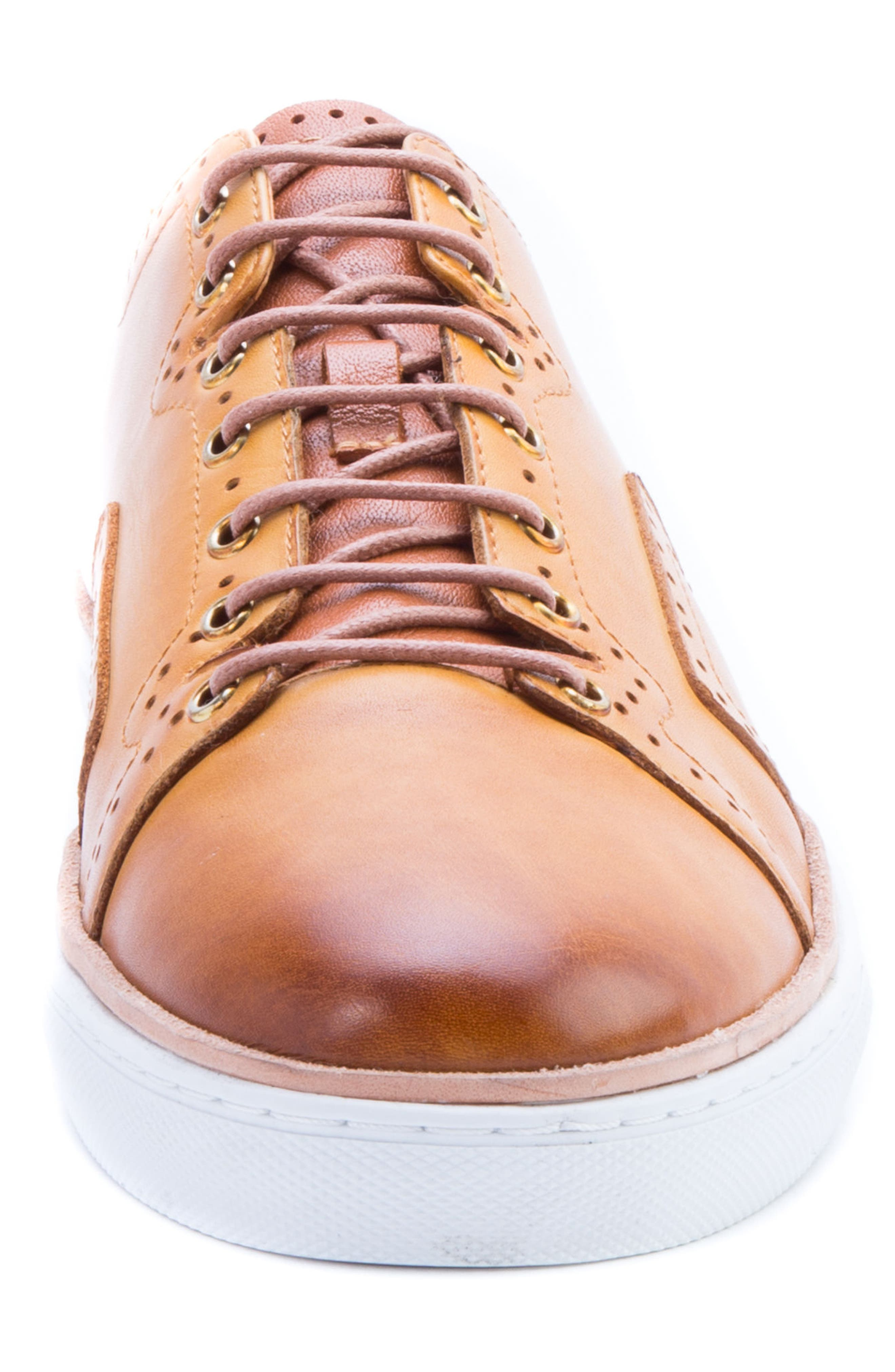 Marti Low Top Sneaker,                             Alternate thumbnail 4, color,                             Cognac Leather