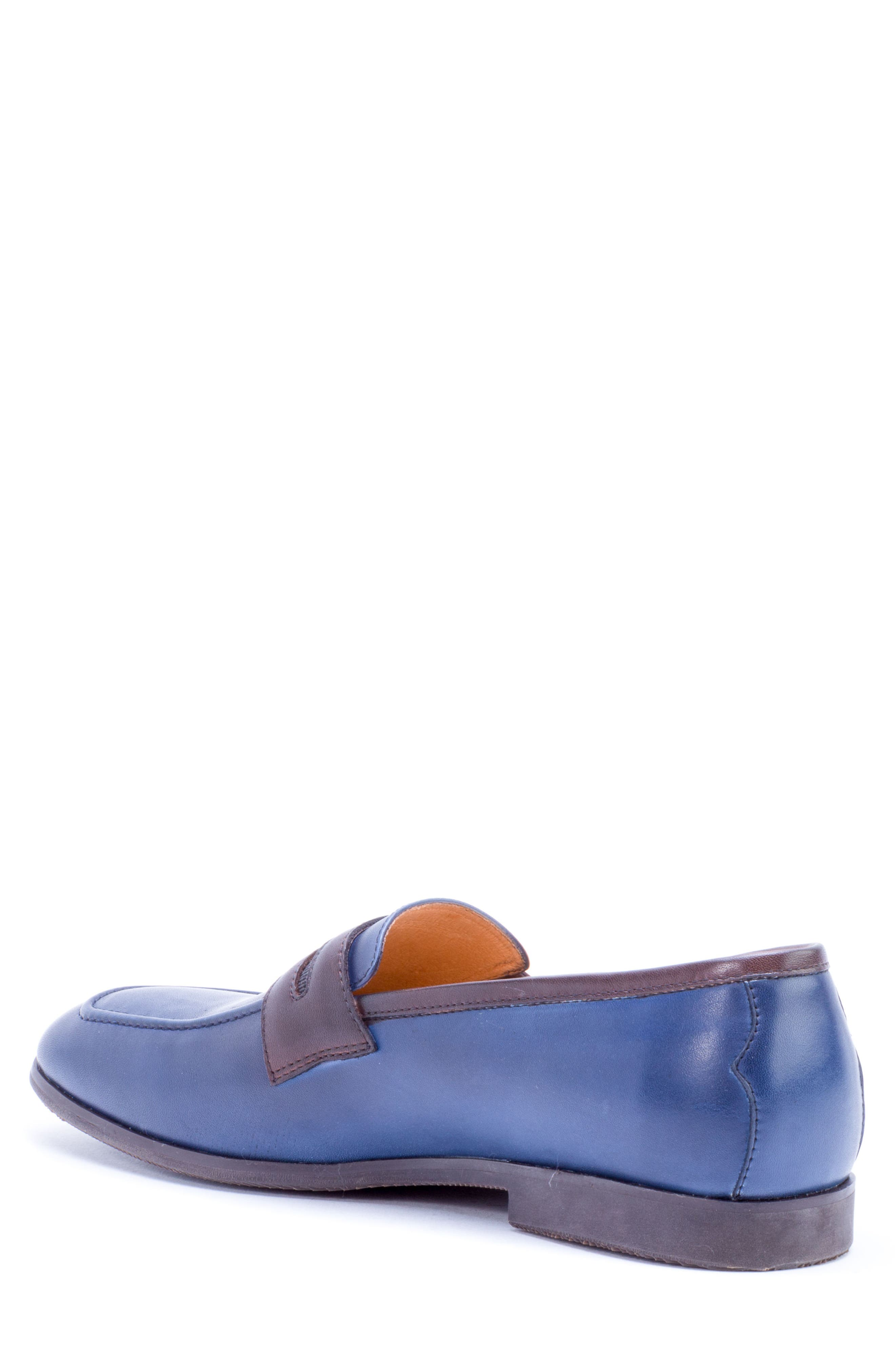 Apron Toe Penny Loafer,                             Alternate thumbnail 2, color,                             Navy Leather
