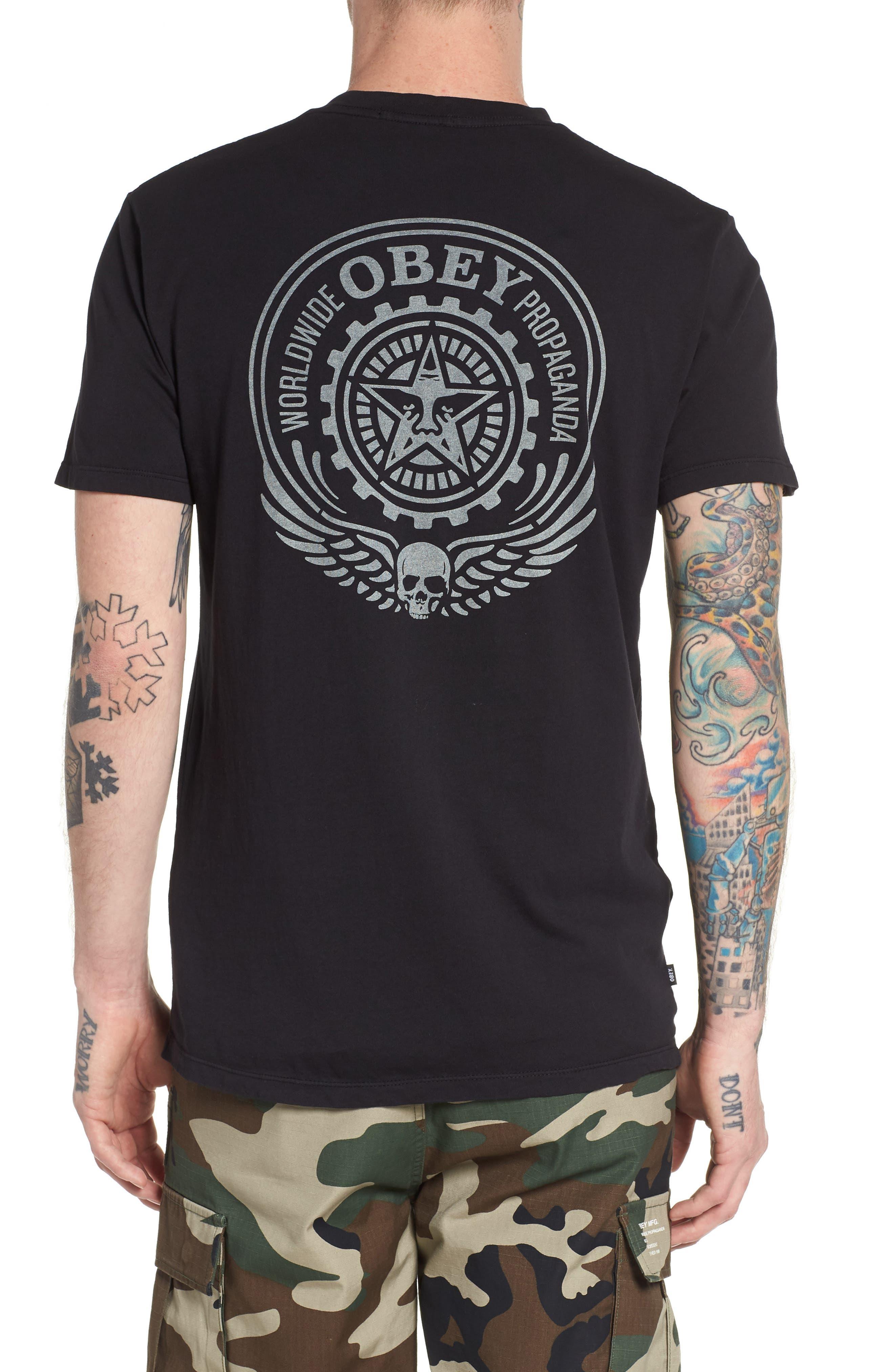 Alternate Image 2  - Obey Skulls & Wings T-Shirt