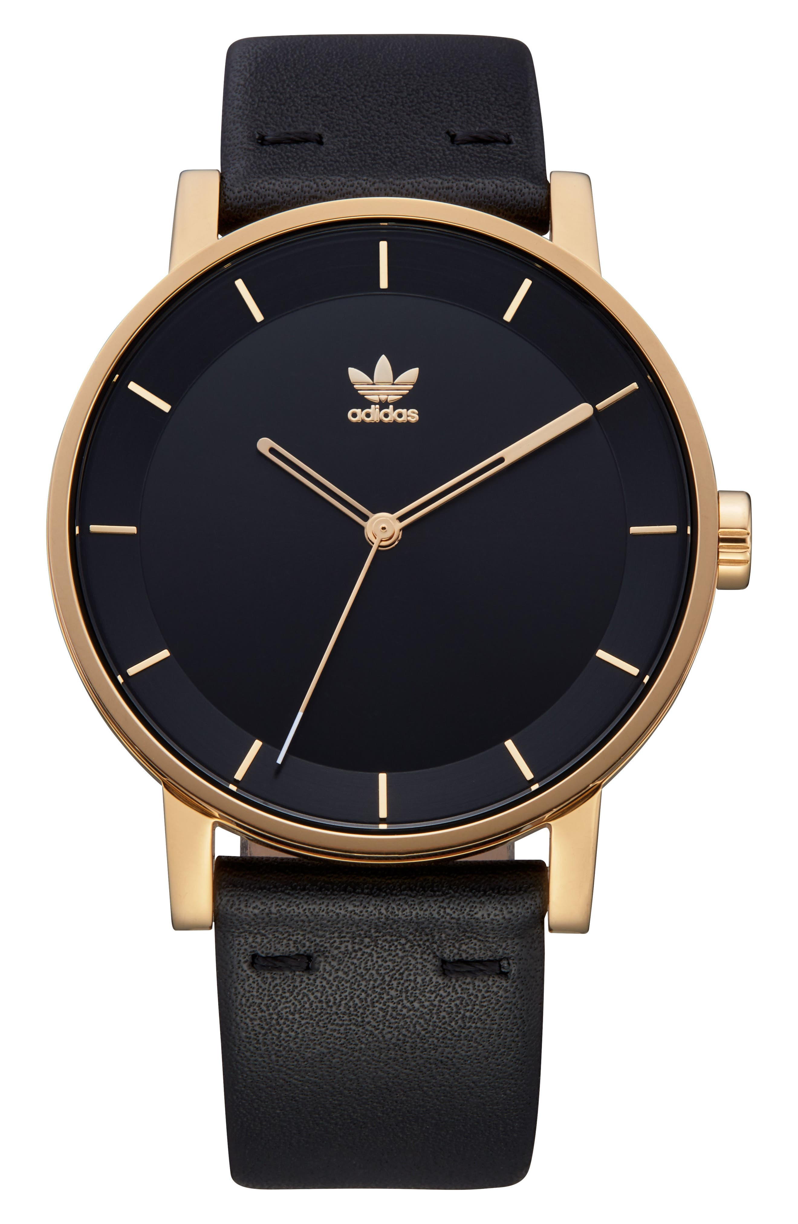 District Leather Strap Watch, 40mm,                         Main,                         color, Gold/ Black