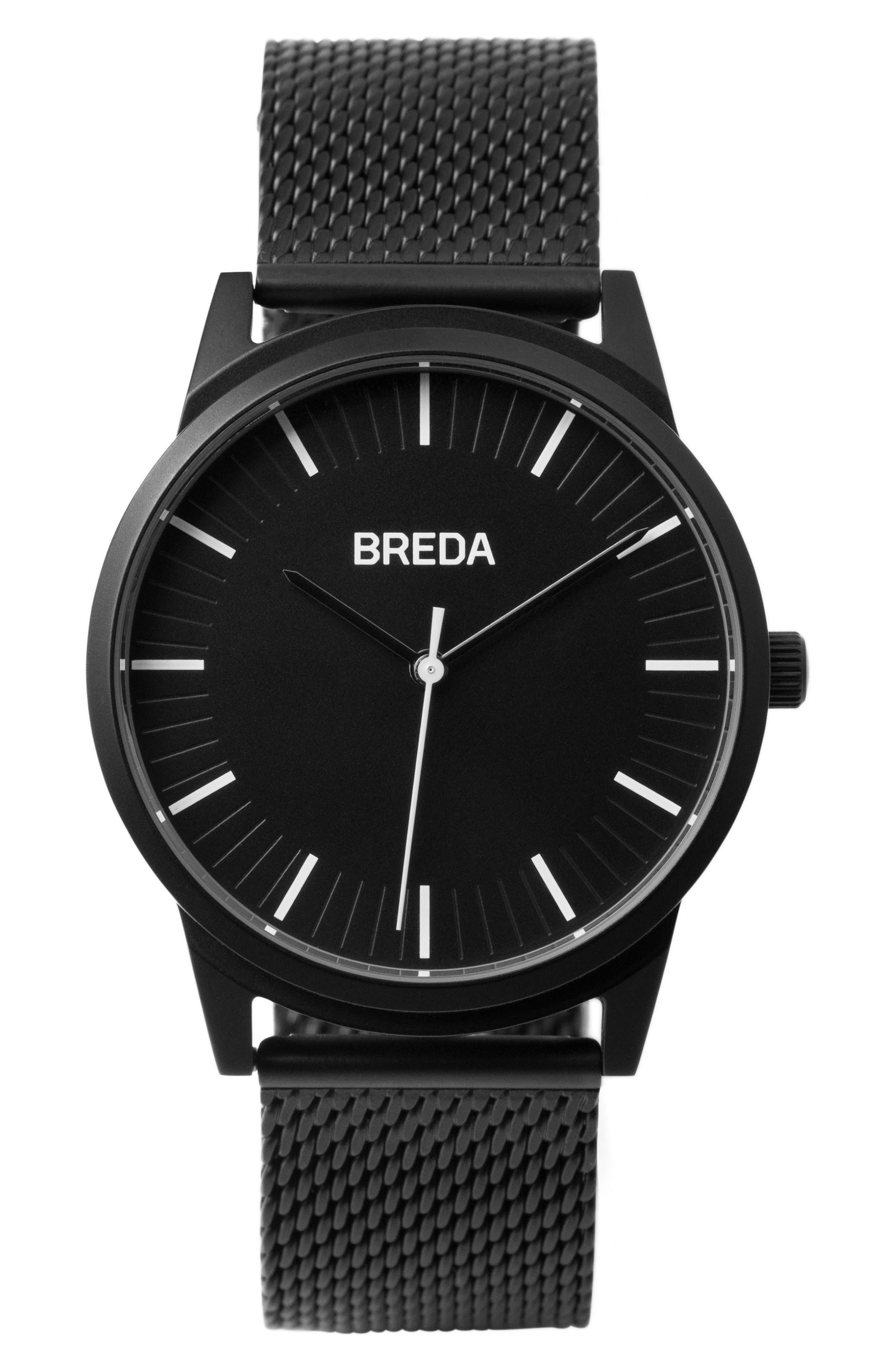 Bresson Mesh Strap Watch, 39mm,                             Main thumbnail 1, color,                             Black
