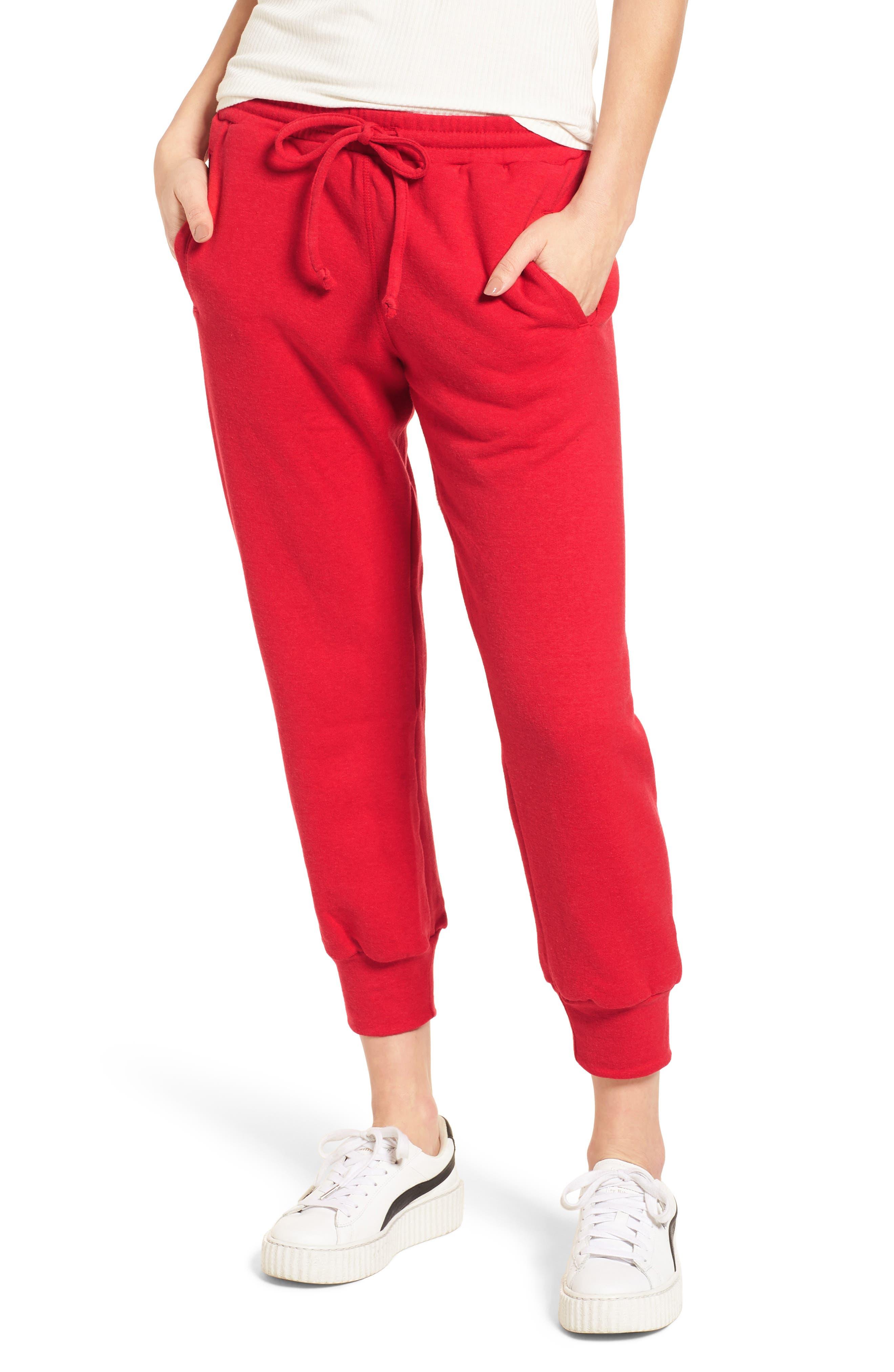 Cambridge Crop Sweatpants,                             Main thumbnail 1, color,                             Cherry