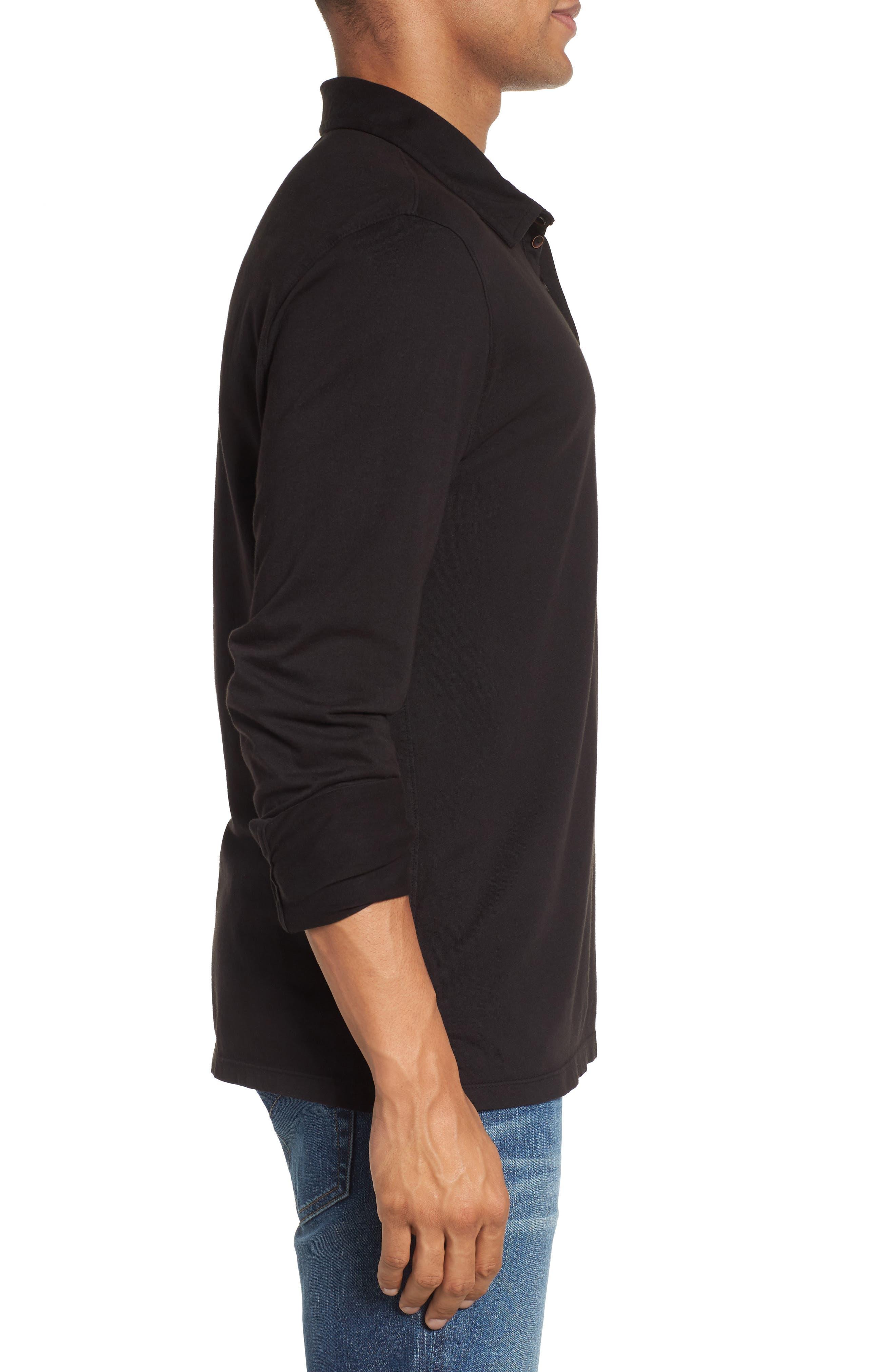 Long Sleeve Jersey Polo,                             Alternate thumbnail 3, color,                             Black