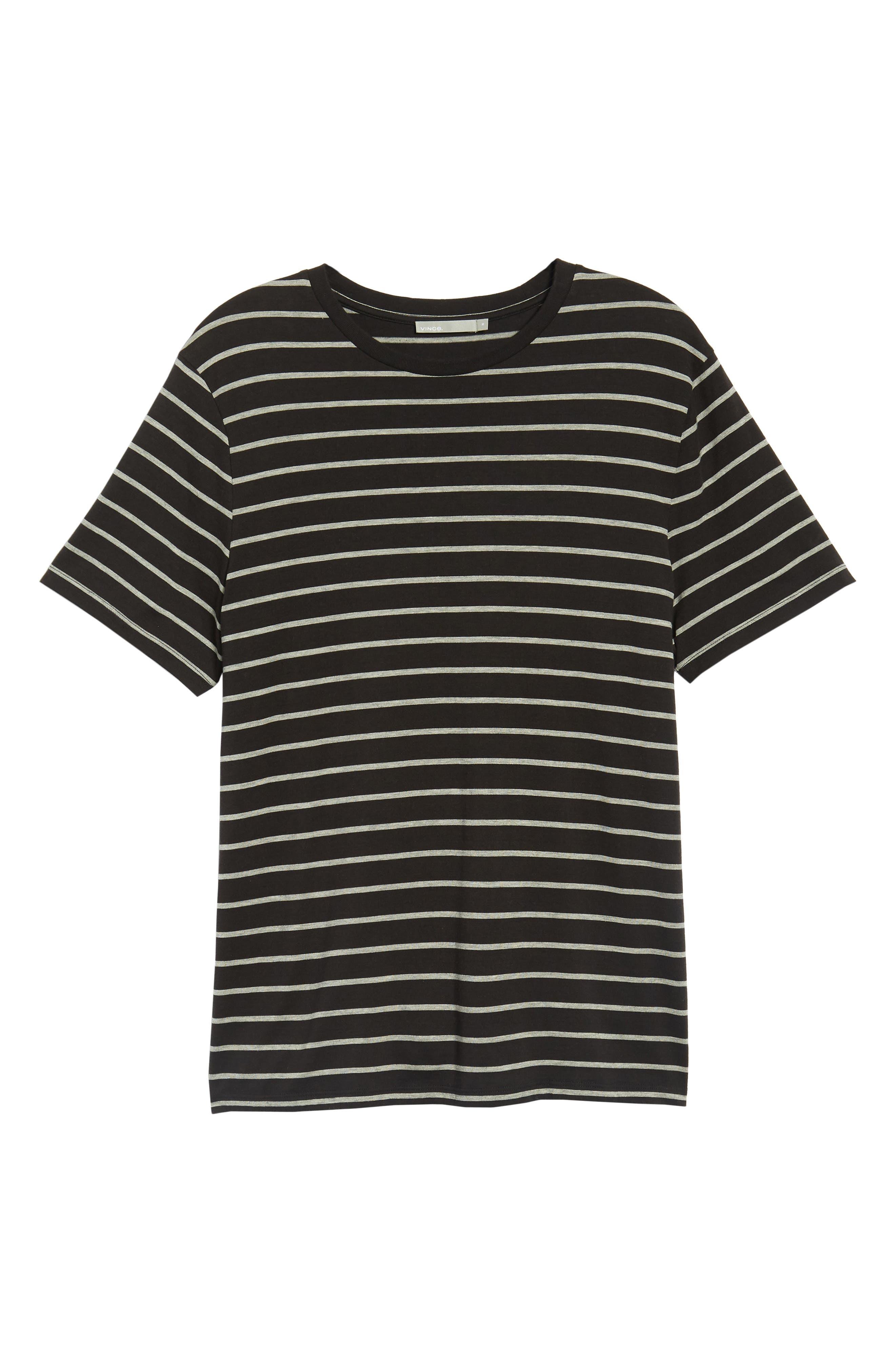 Slim Fit Heathered Stripe T-Shirt,                             Alternate thumbnail 6, color,                             Black/ Heather Steel