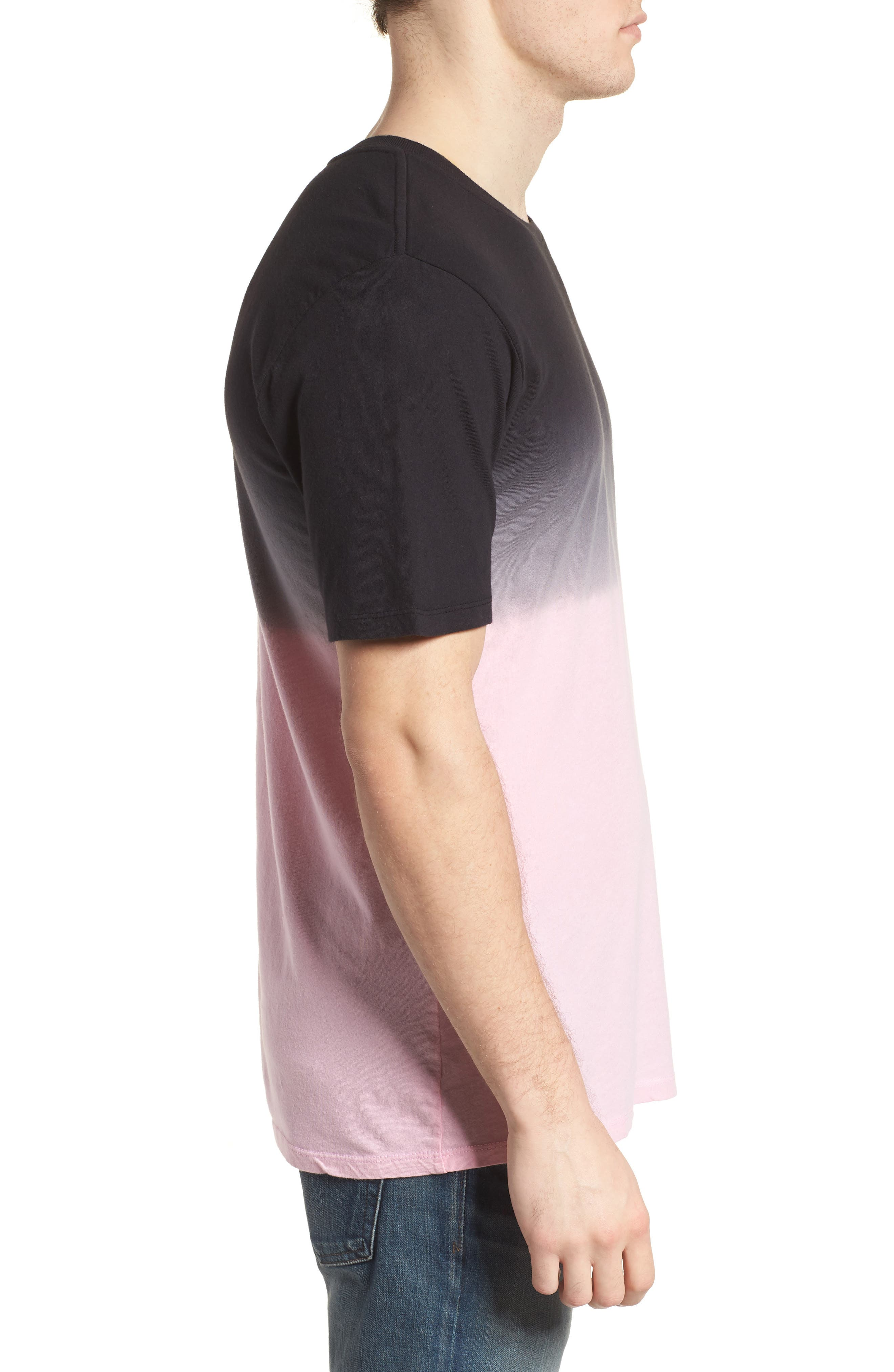 Trajectory Dip Dye T-Shirt,                             Alternate thumbnail 3, color,                             Hyper Pink/Black