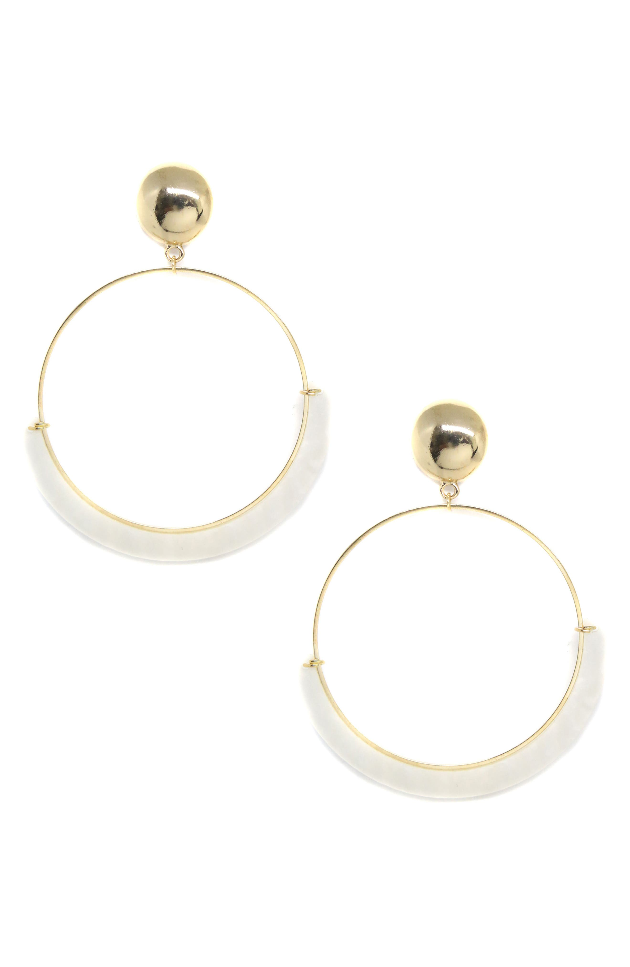 Gold Wire & Resin Hoop Earrings,                         Main,                         color, Cream/Gold