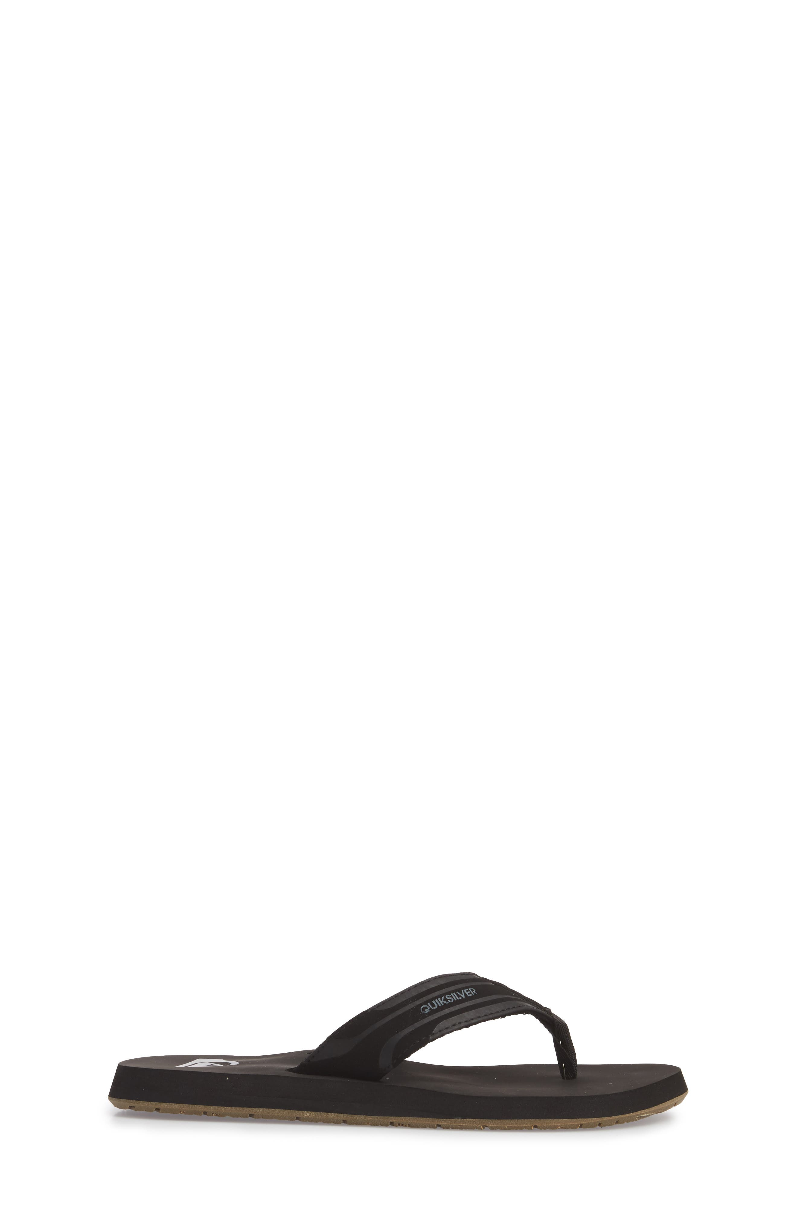 Monkey Wrench Flip Flop,                             Alternate thumbnail 3, color,                             Black/ Brown