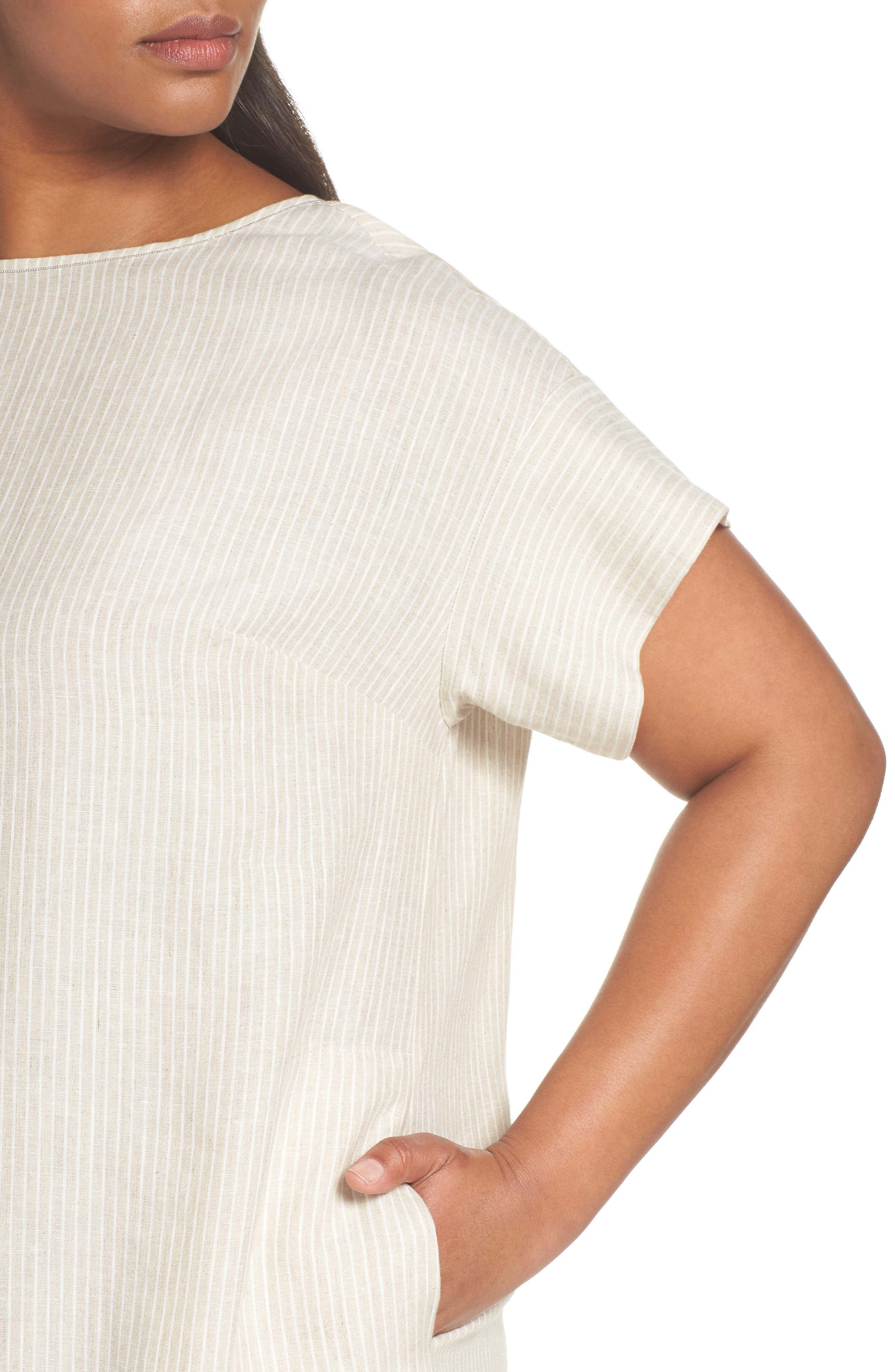 Emiline Stripe Linen Dress,                             Alternate thumbnail 4, color,                             Tahini Multi