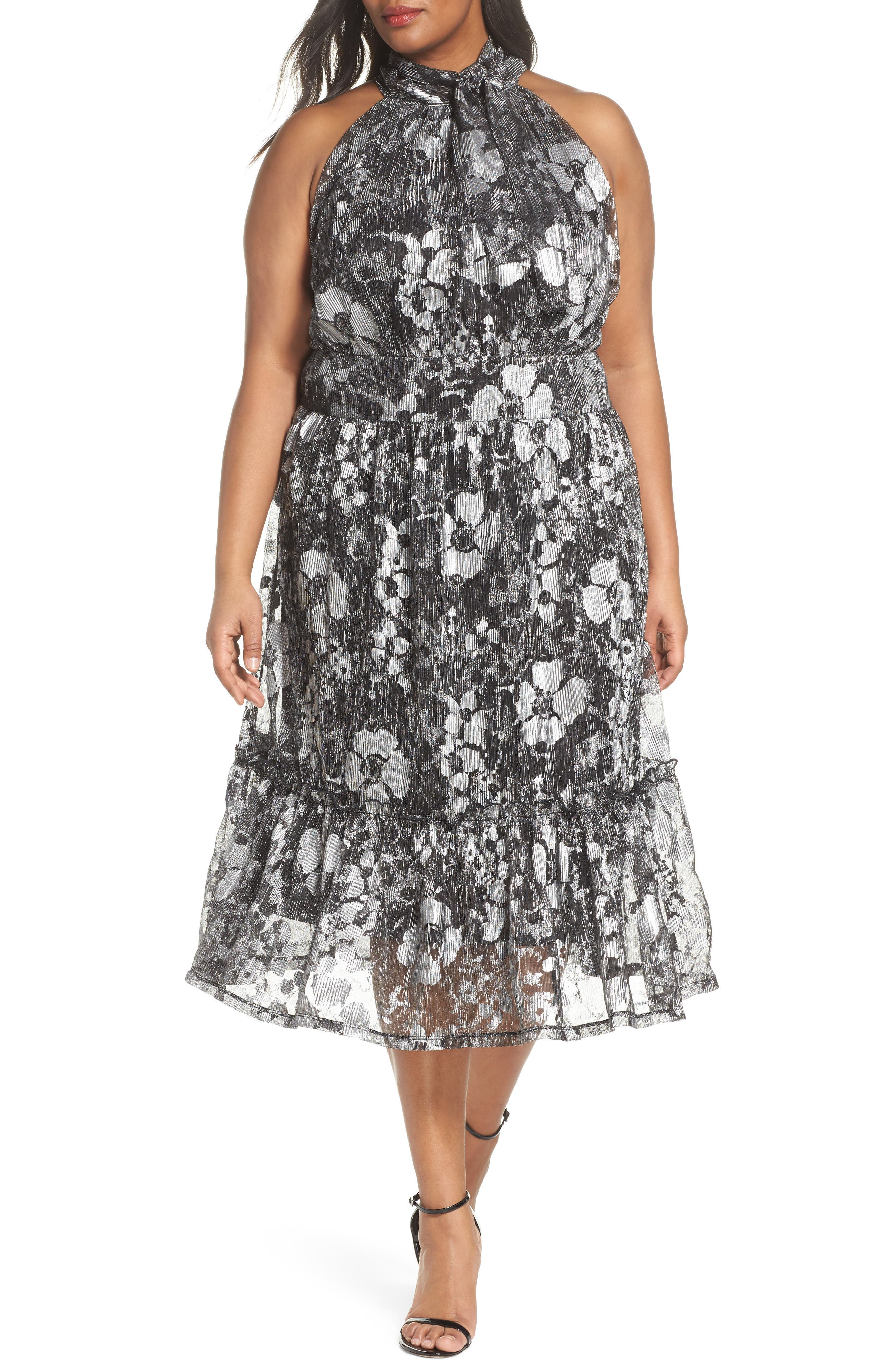 Floral Metallic Midi Dress,                         Main,                         color, Black/ Silver Foil