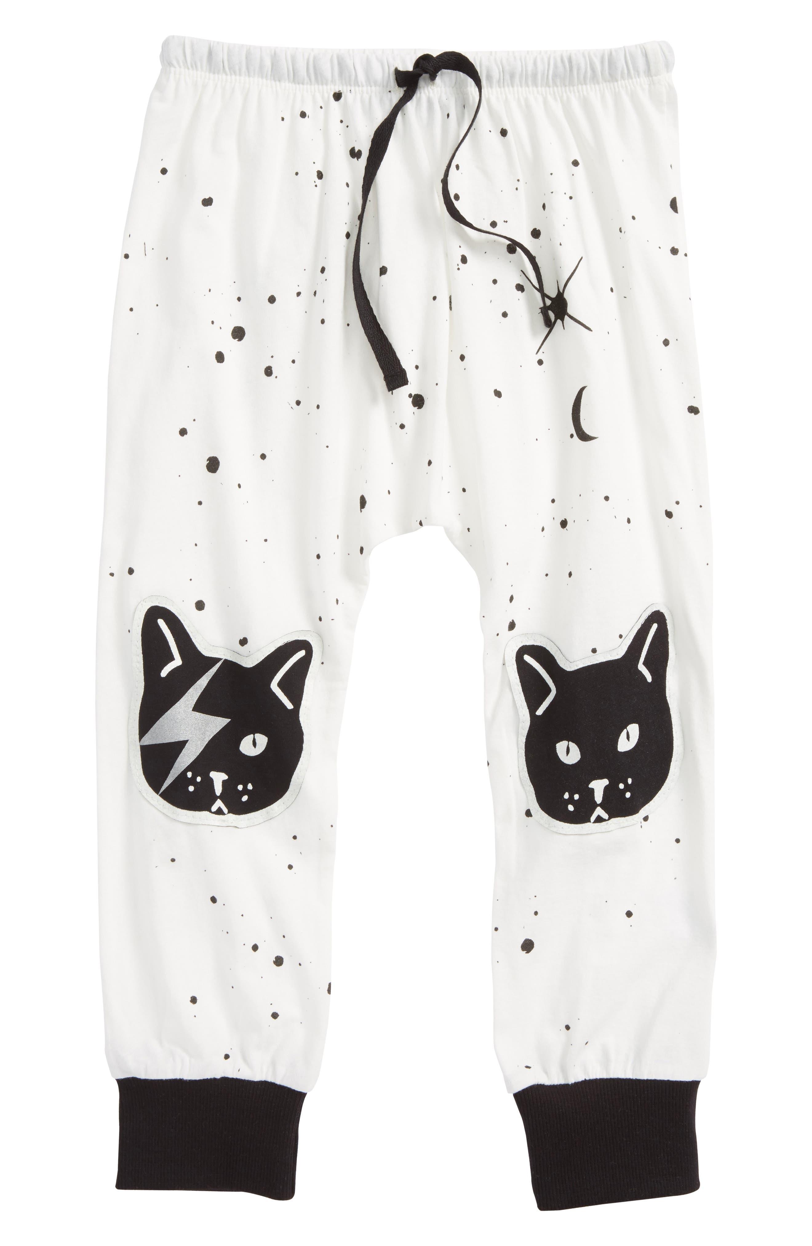 Space Cat Jogger Pants,                         Main,                         color, White Space