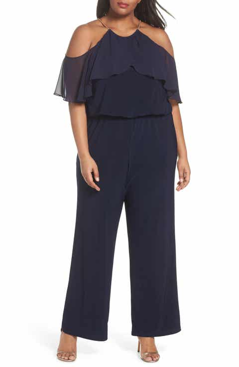 Xscape Chain Neck Cold Shoulder Jumpsuit (Plus Size)