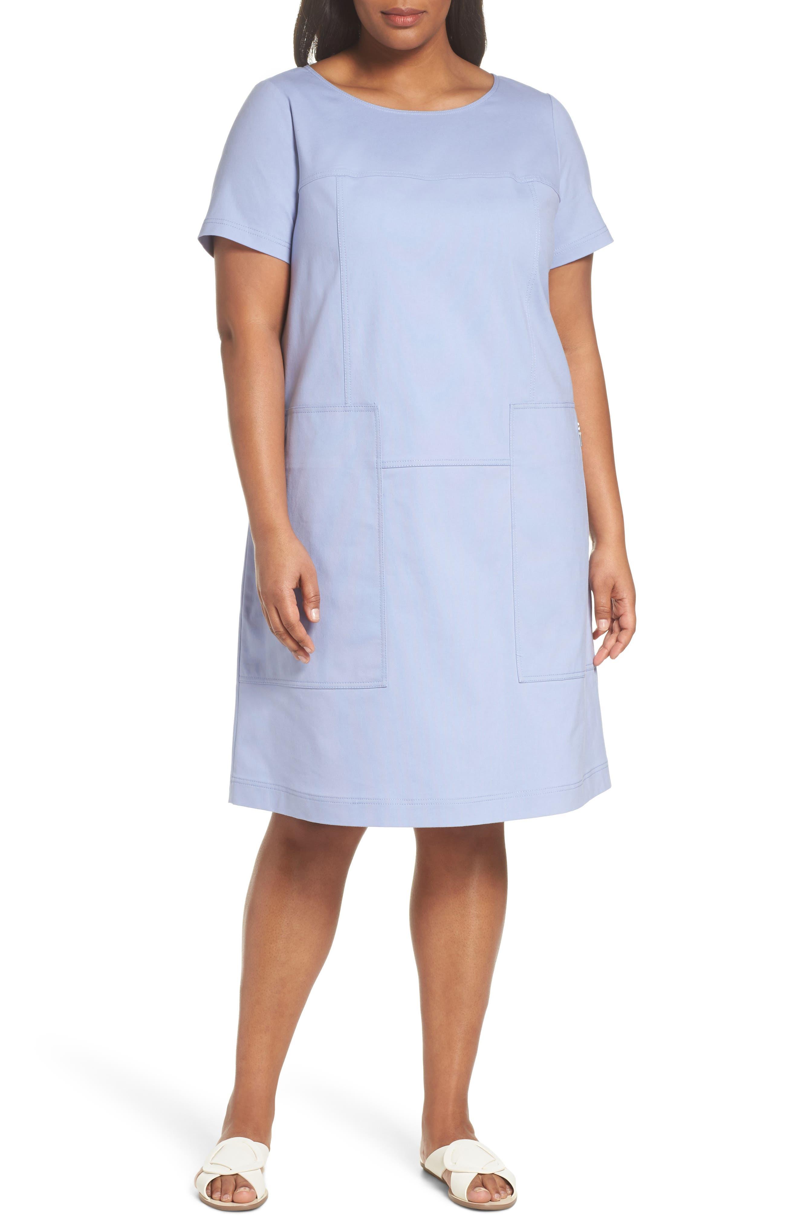 Lafayette 148 New York Farah Catalina Stretch Canvas Dress (Plus Size)
