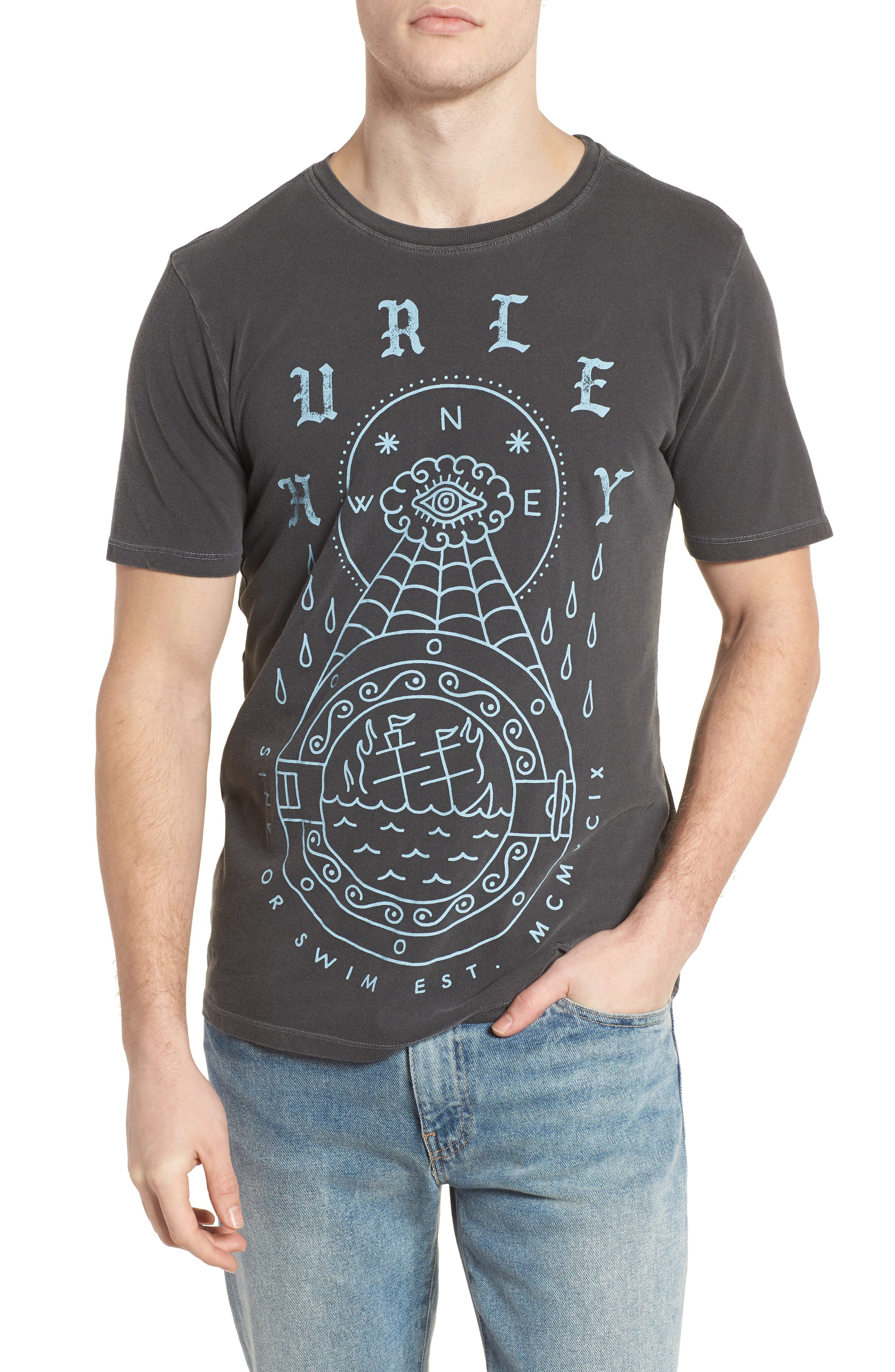HURLEY PORTS DESTROY GRIND GRAPHIC T-SHIRT