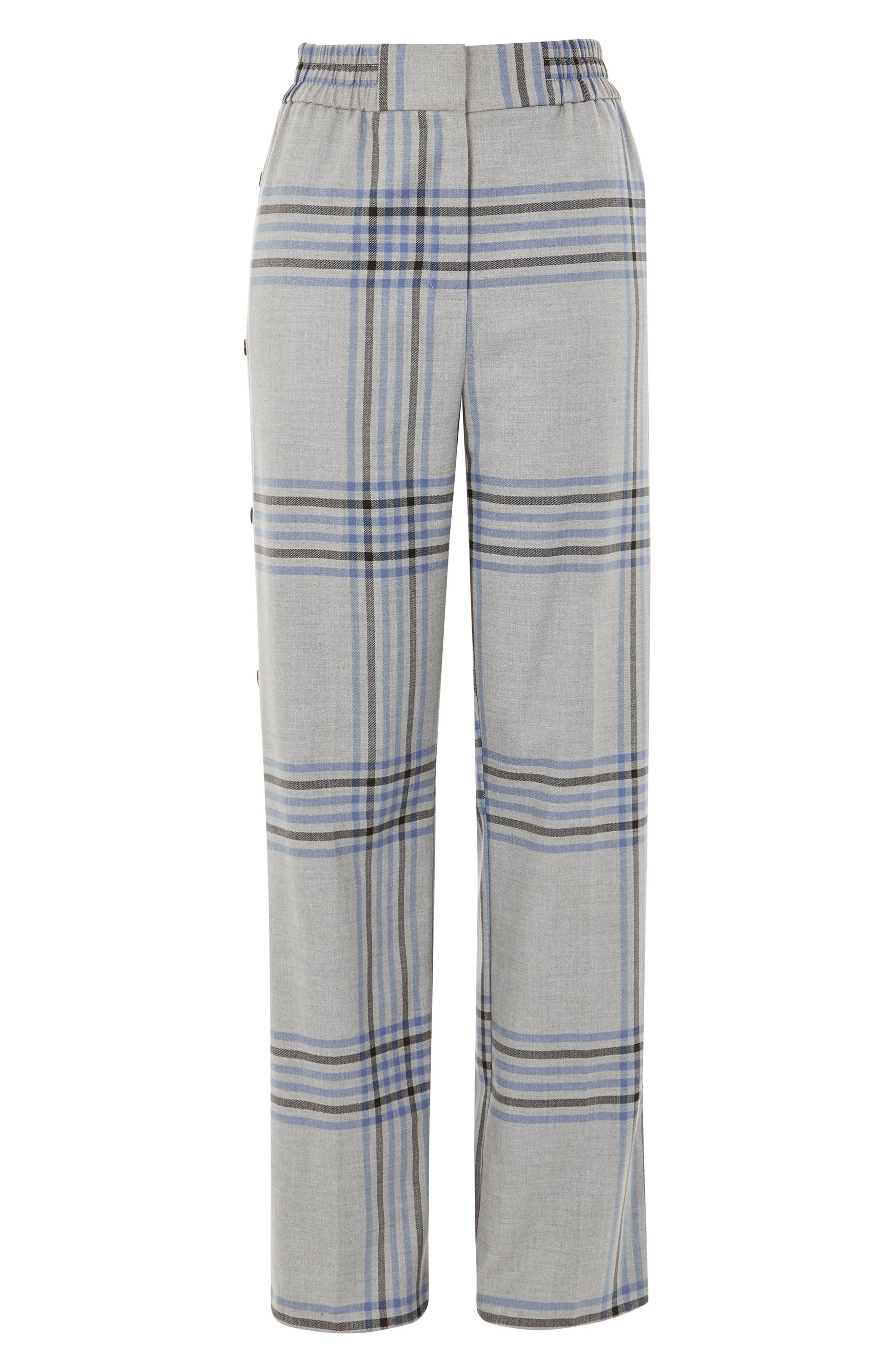 Plaid Popper Wide Leg Trousers,                             Alternate thumbnail 4, color,                             Grey Multi