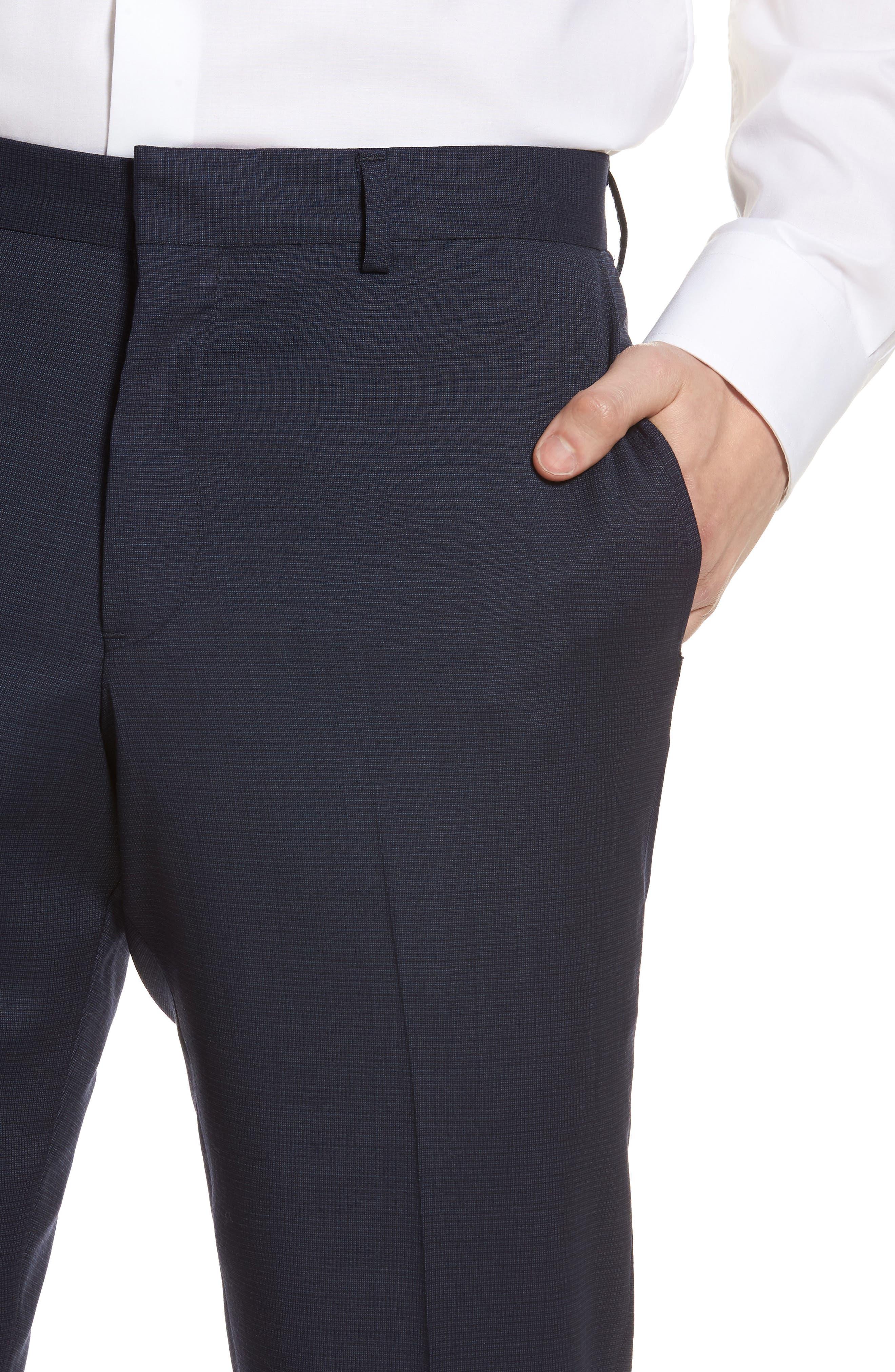 Tech-Smart Flat Front Stretch Wool Pants,                             Alternate thumbnail 4, color,                             Navy