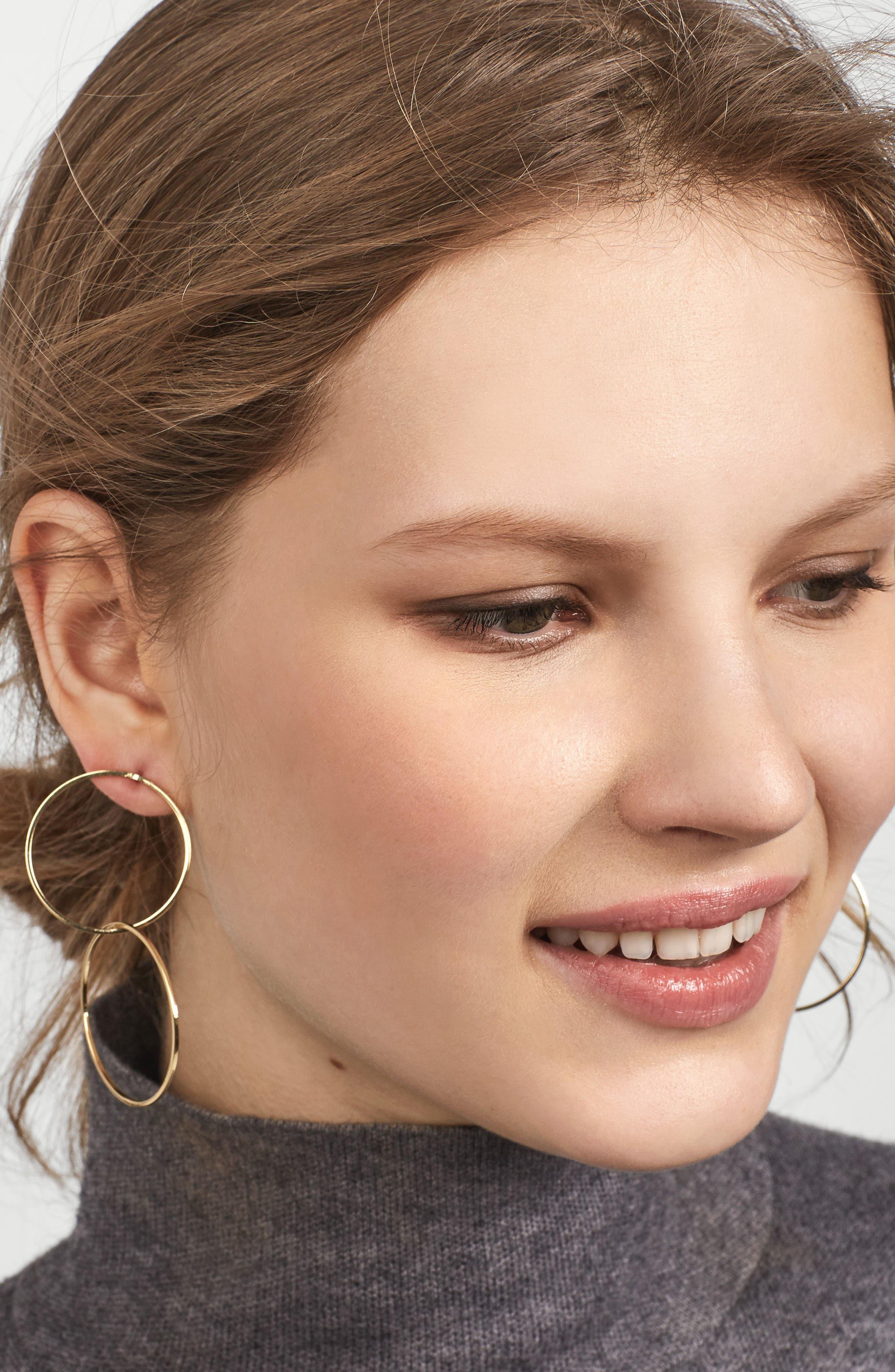 Palace Double Hoop Earrings,                             Alternate thumbnail 2, color,                             Gold