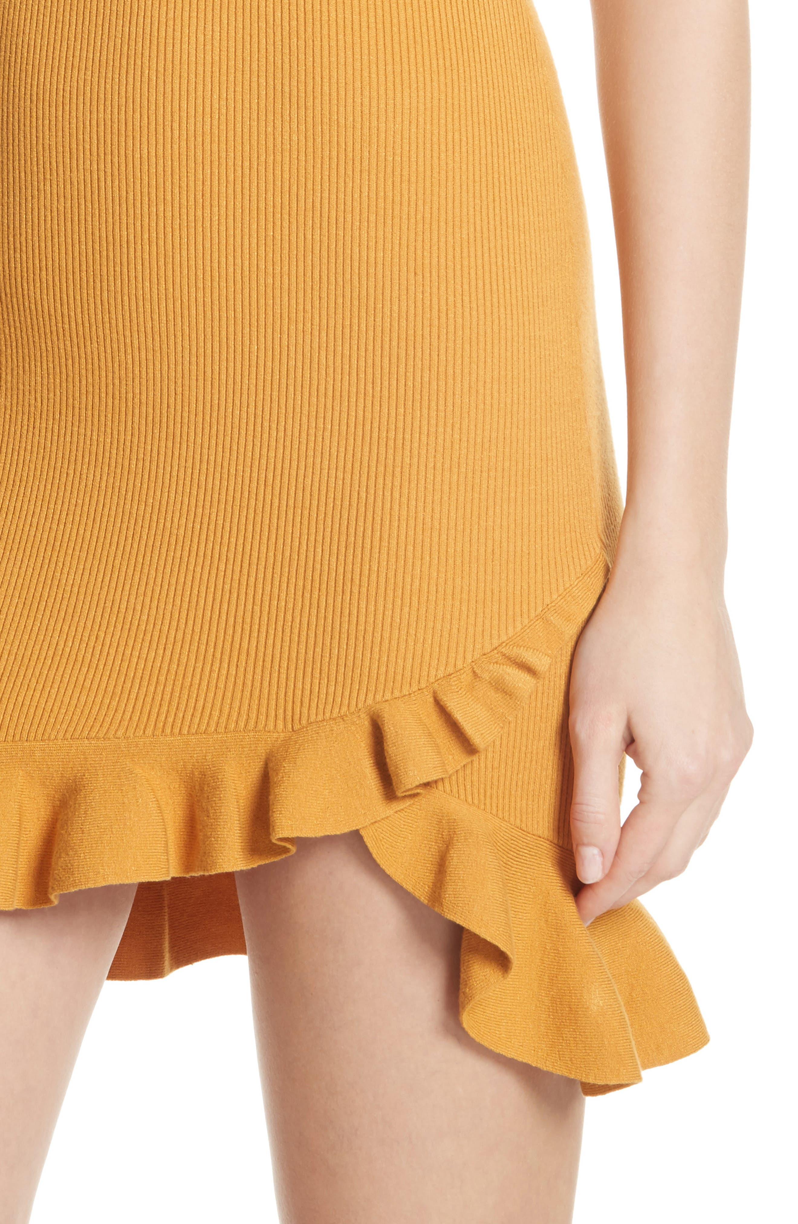 Tulum Ribbed Ruffle Hem Dress,                             Alternate thumbnail 4, color,                             Putty Yellow