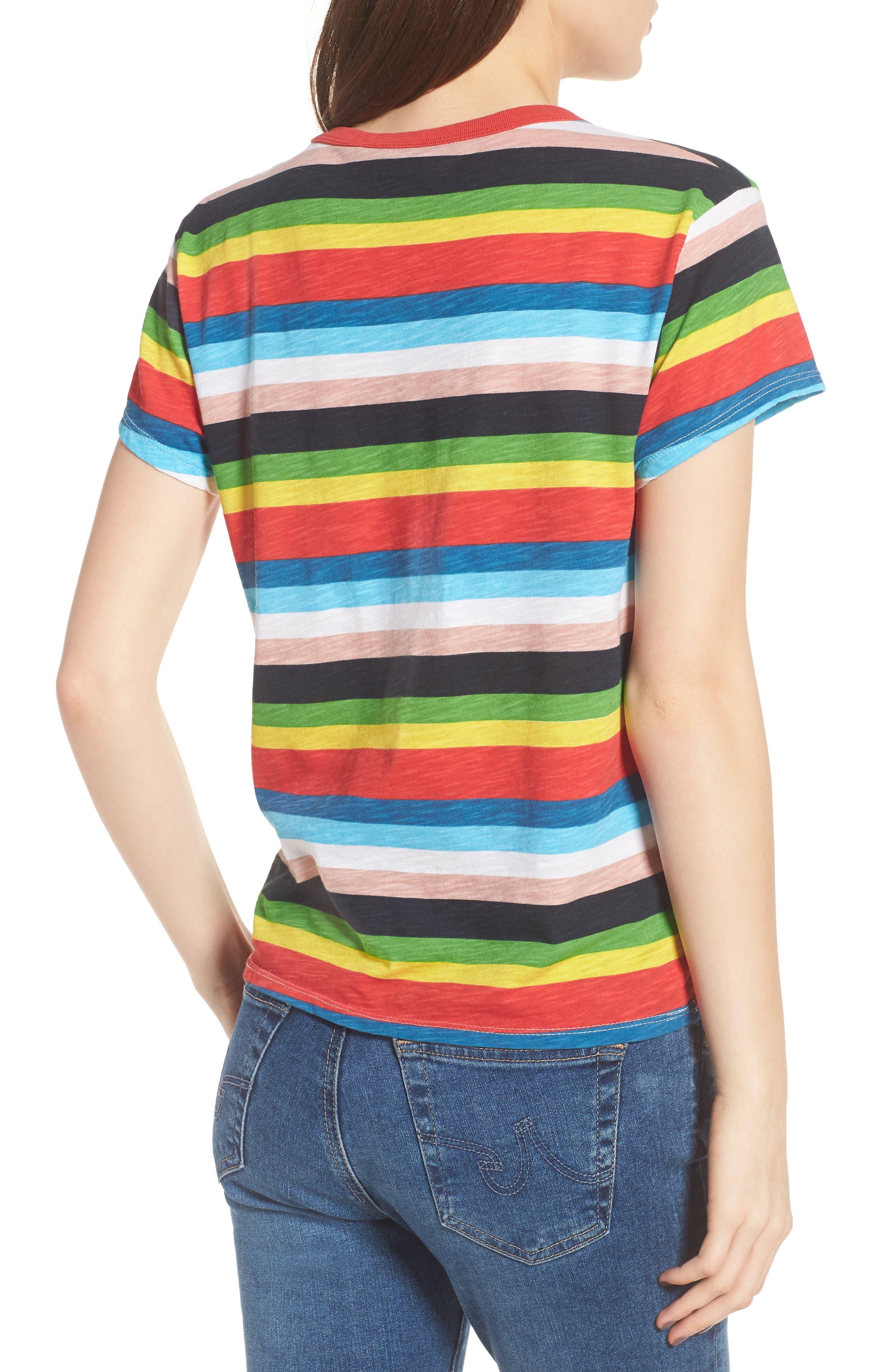 Rainbow Stripe Ringer Tee,                             Alternate thumbnail 2, color,                             Multi