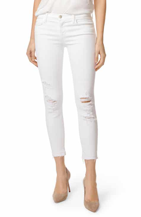 J Brand 9326 Low Rise Crop Skinny Jeans (Destructed White Sateen Demented) by J BRAND