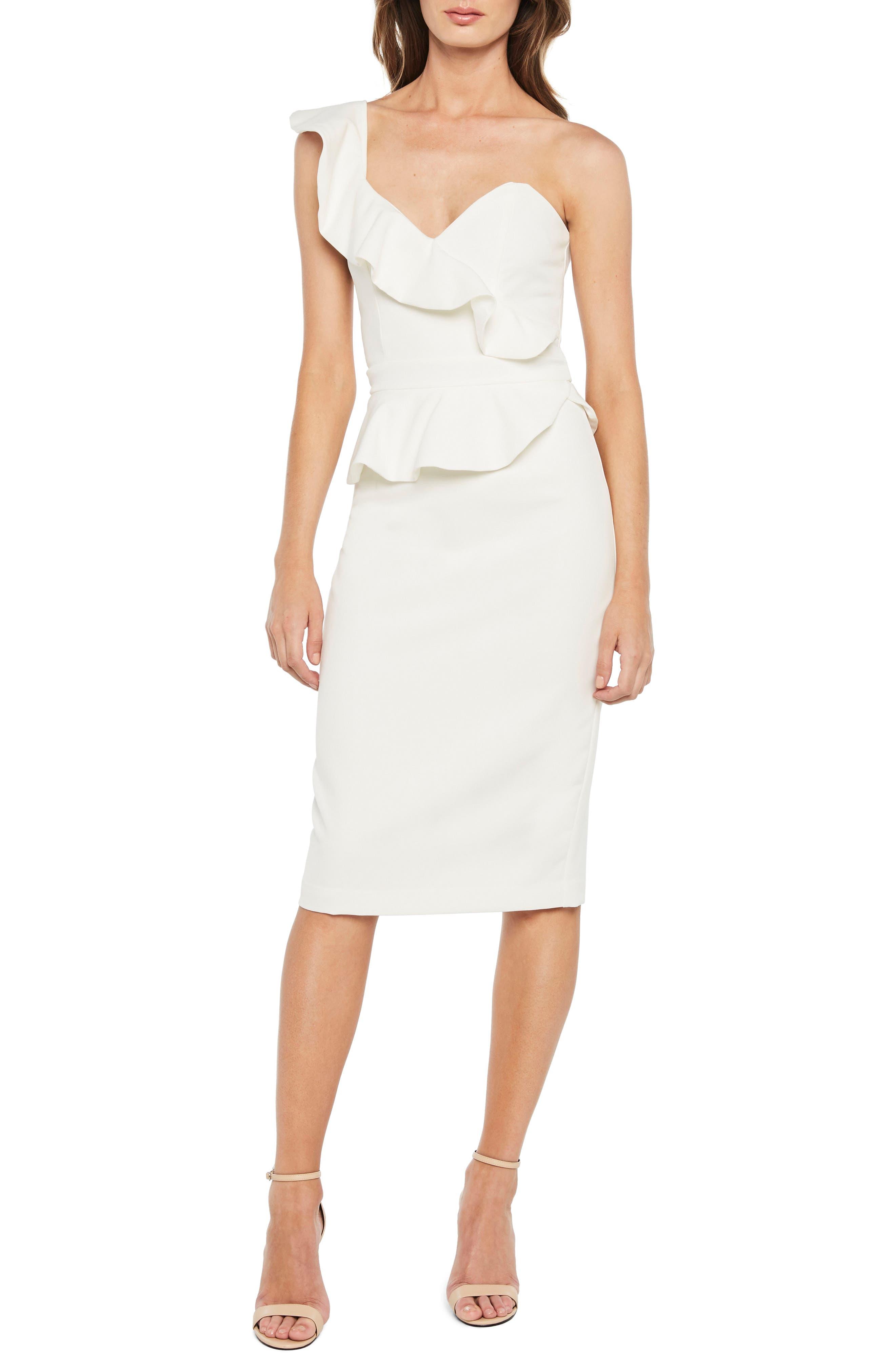 Camellia One-Shoulder Sheath Dress,                         Main,                         color, Ivory