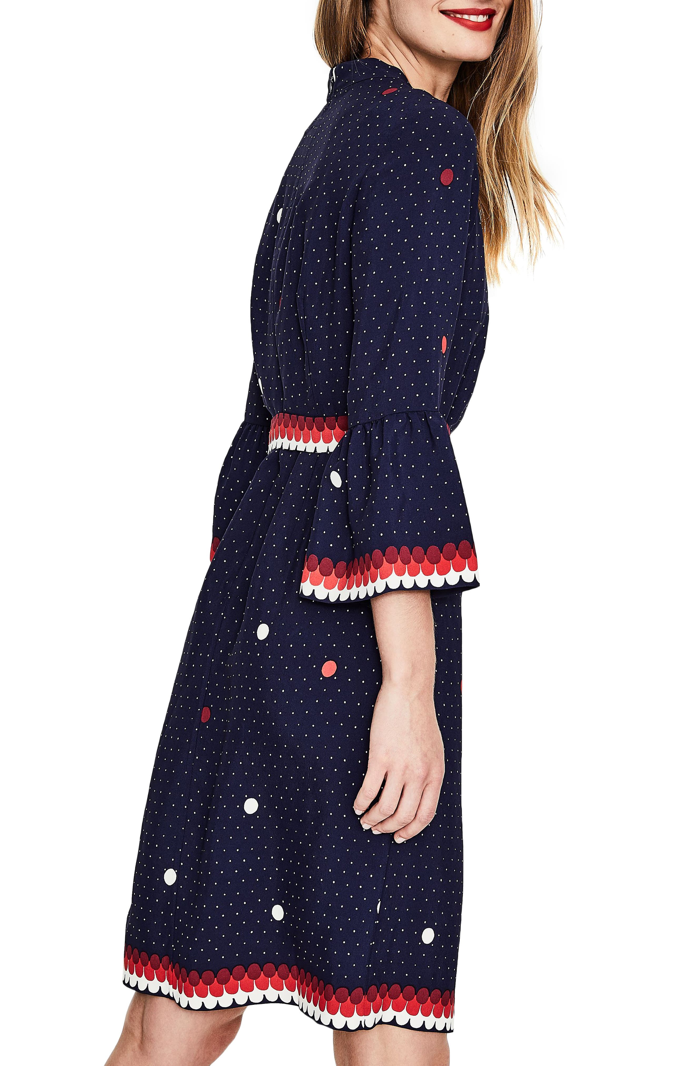Ruffle Sleeve Polka Dot DRess,                             Alternate thumbnail 4, color,                             Navy/ Spot Border